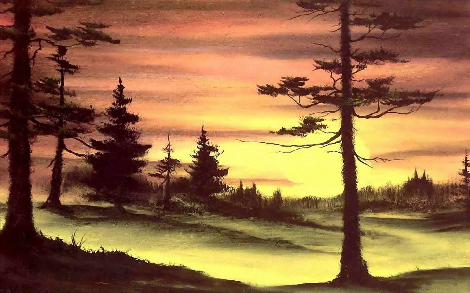 painting bob ross bob ross pattern nature sunset sun forest tree