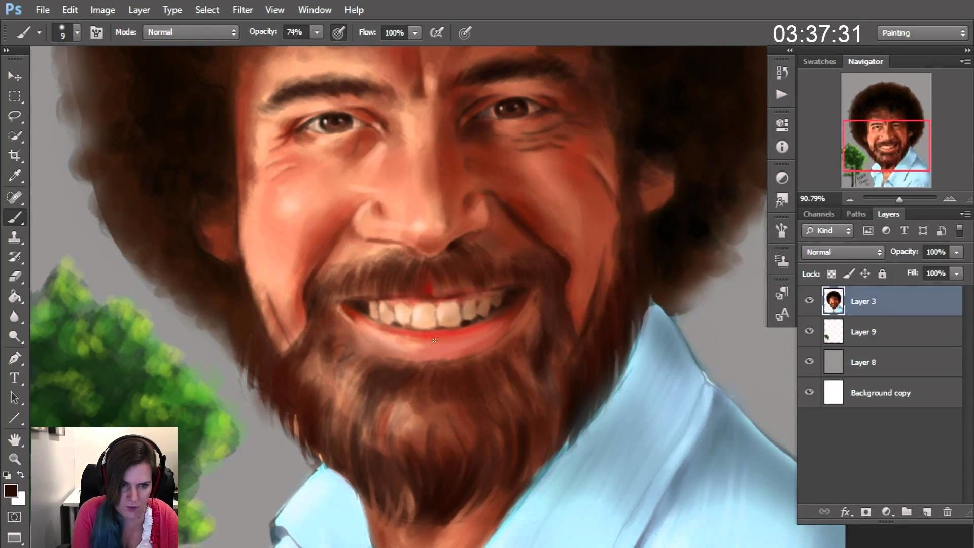 Bob Ross portrait painting