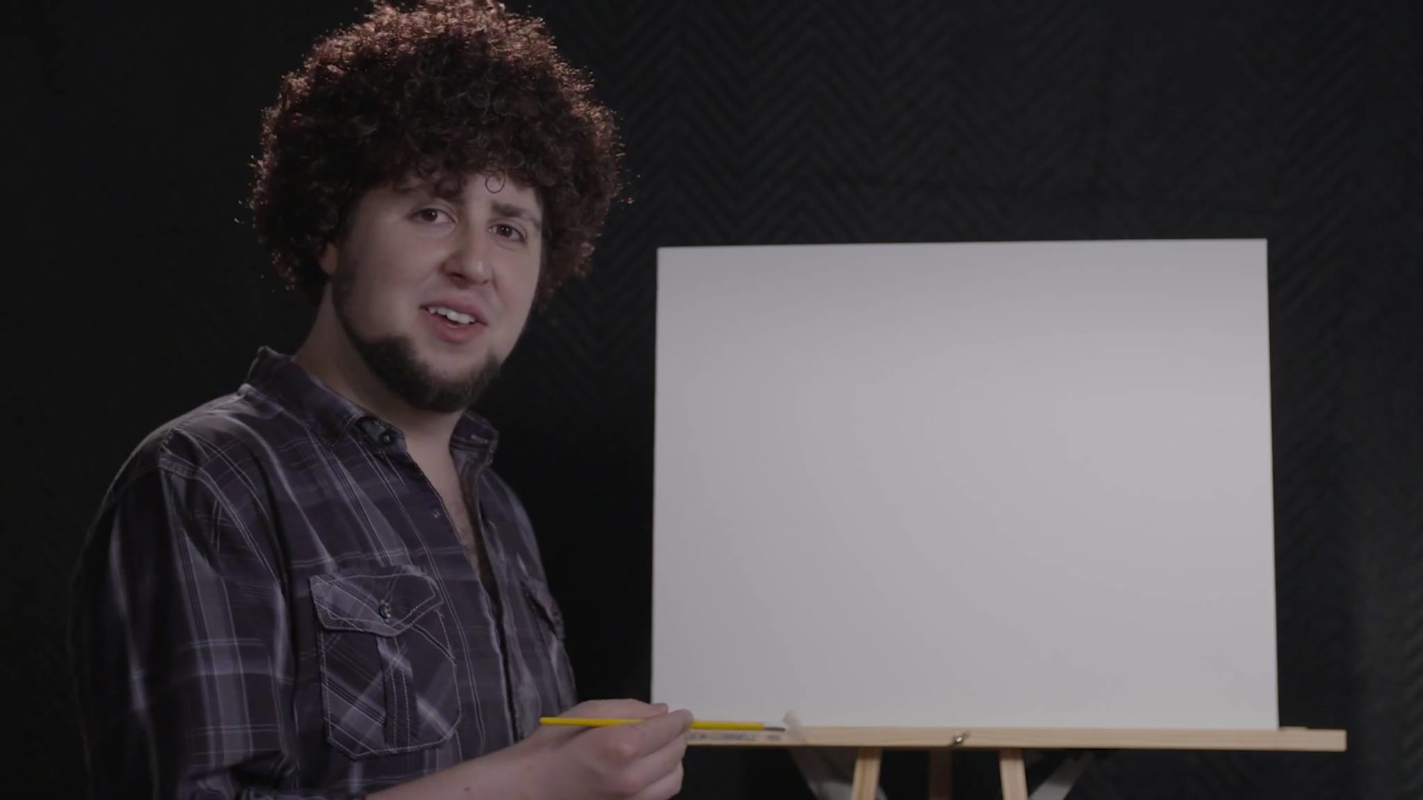 Image ContentPsBattle: JonTron dressed up as Bob Ross with an empty canvass  …
