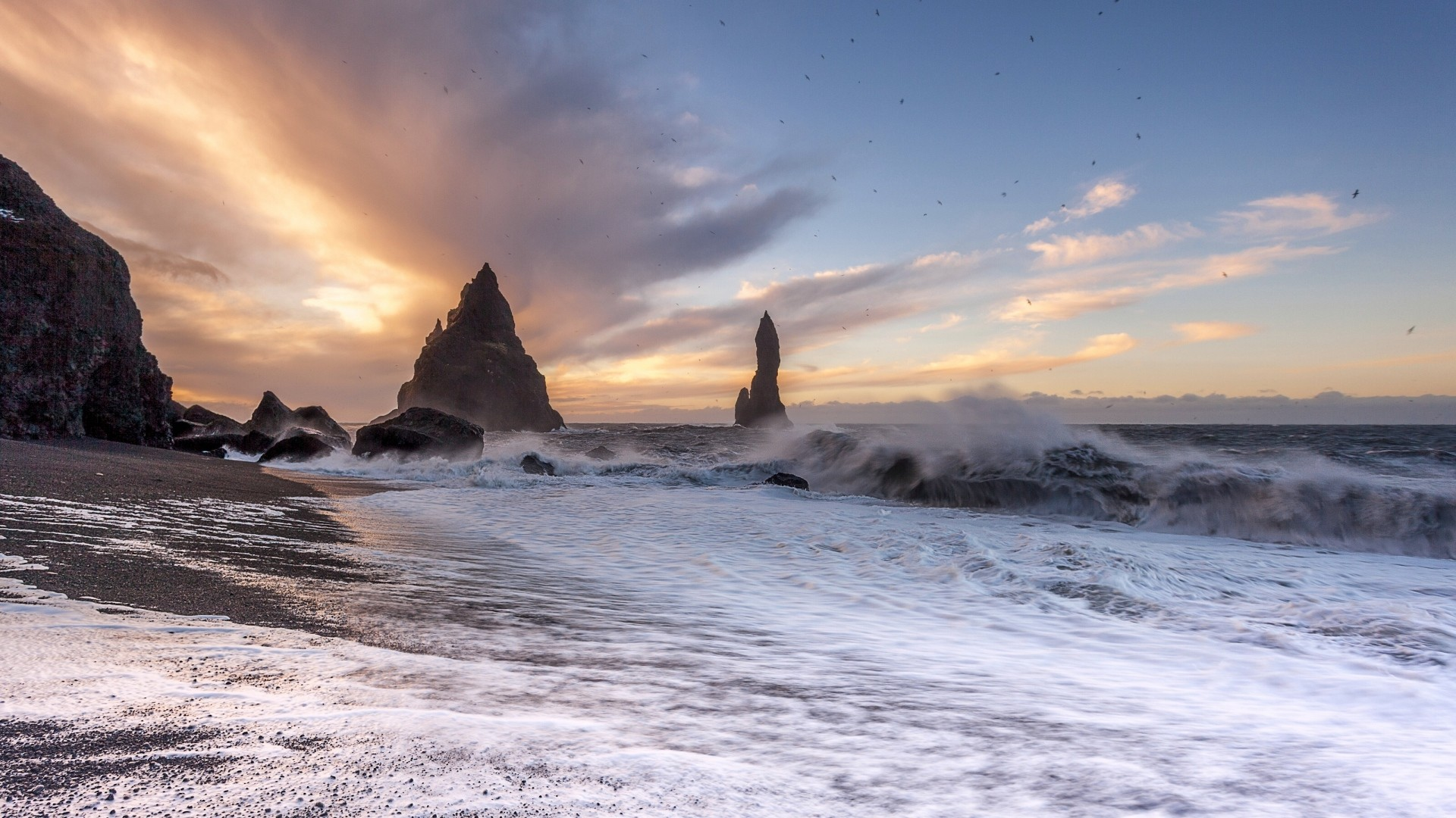 Wallpaper vik, iceland, atlantic ocean, surf, sunset