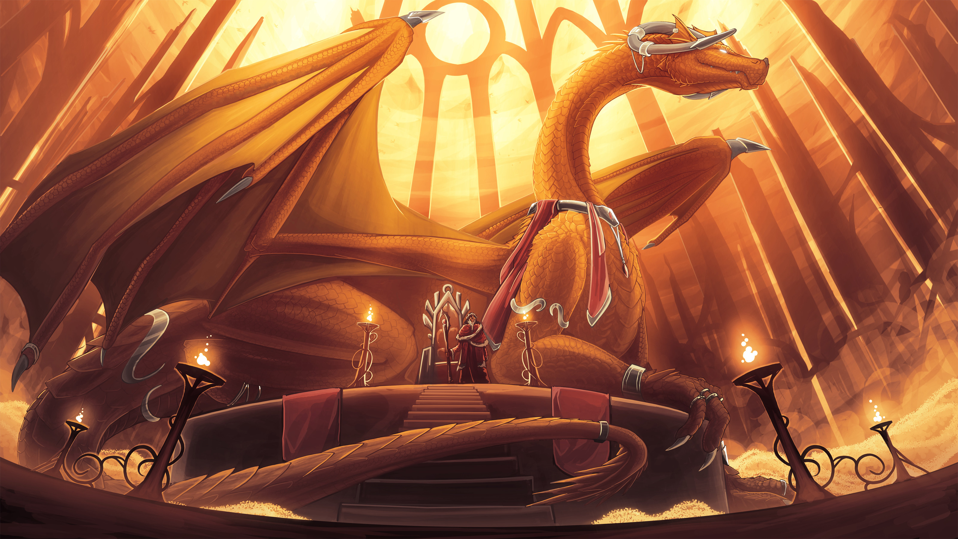 Fantasy – Dragon Throne Wallpaper