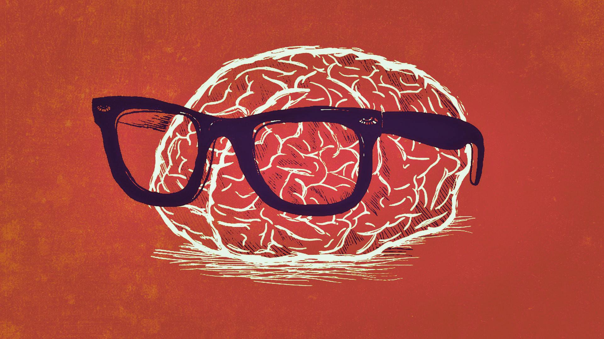 Humor – Nerd Orange Brain Weird Wallpaper
