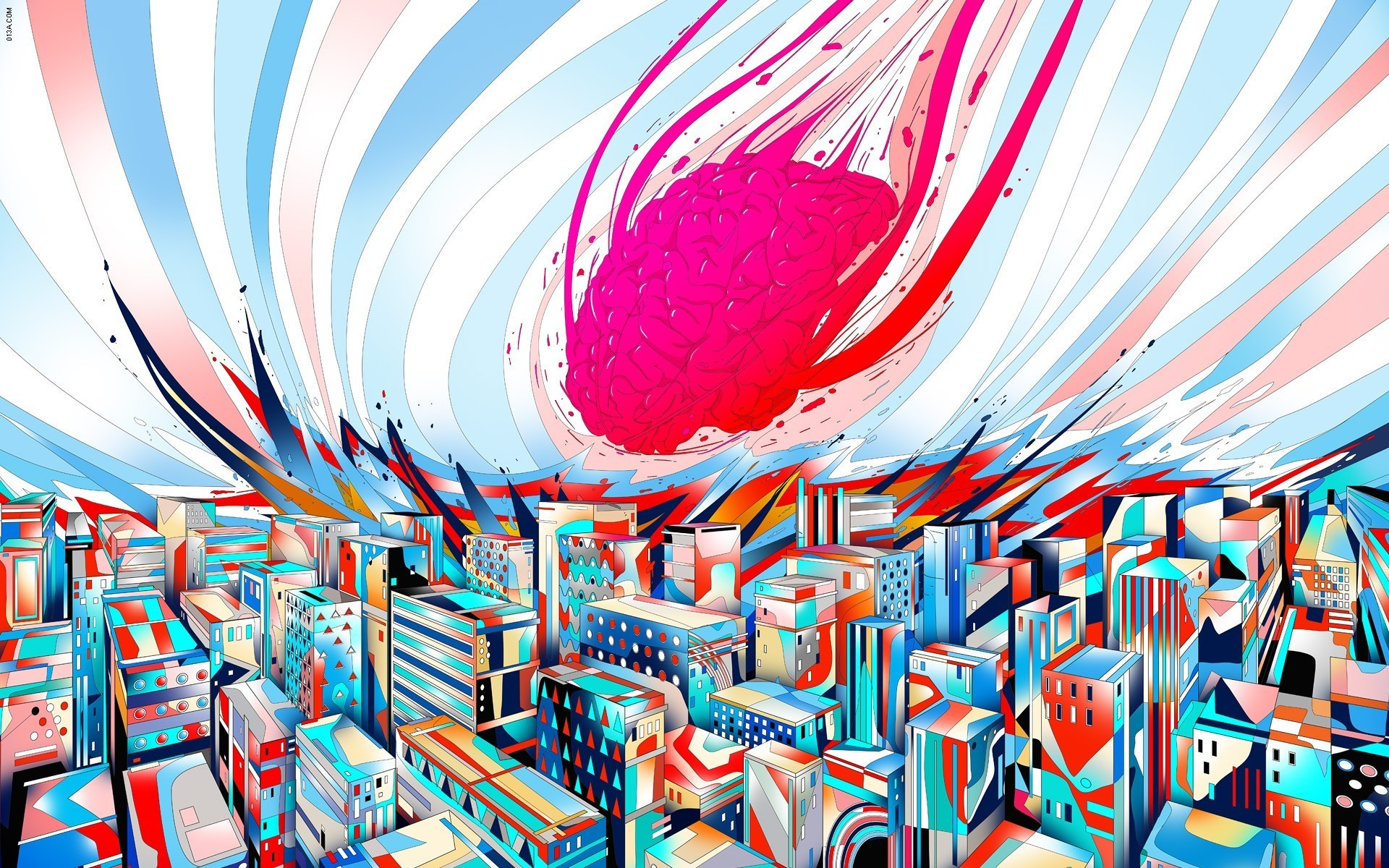 brain, Abstract, Artwork, Drawn, City, Colorful