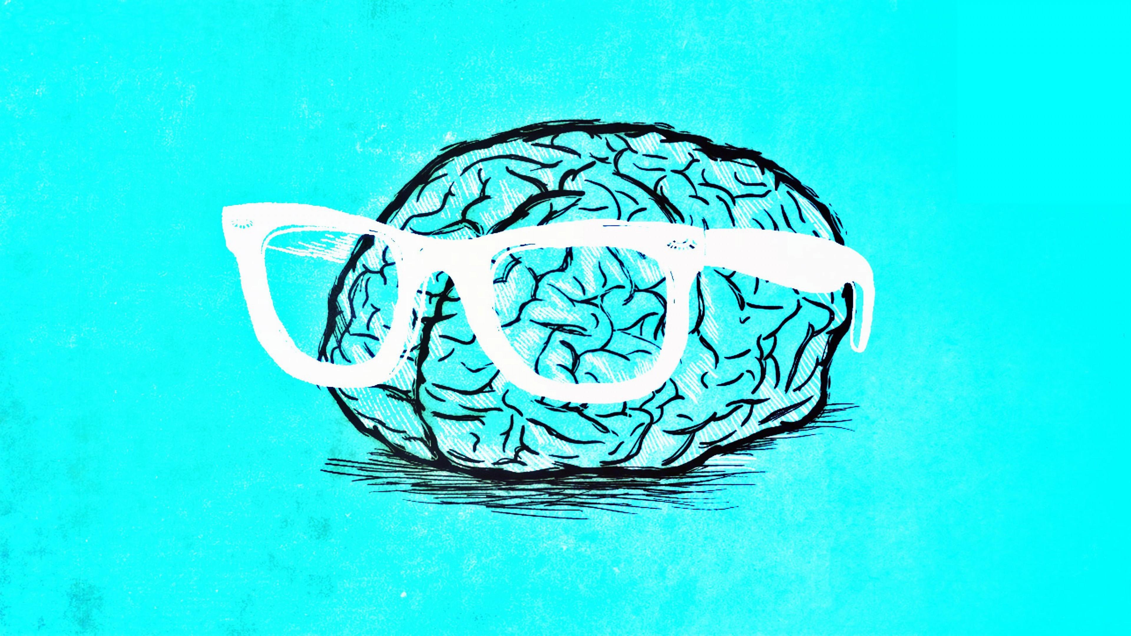 Wallpaper brain, glasses, art, gyrus