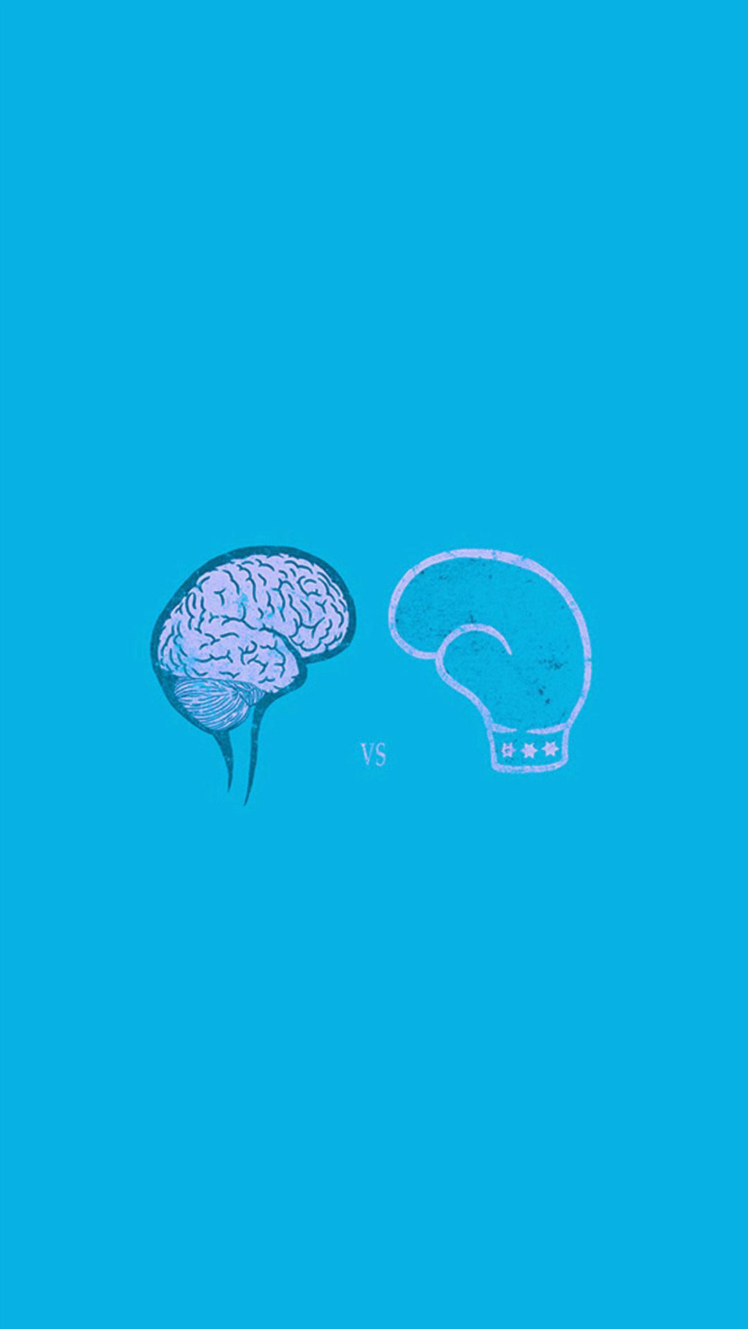 Brain VS Boxing Illust Blue Minimal Art #iPhone #6 #plus #wallpaper