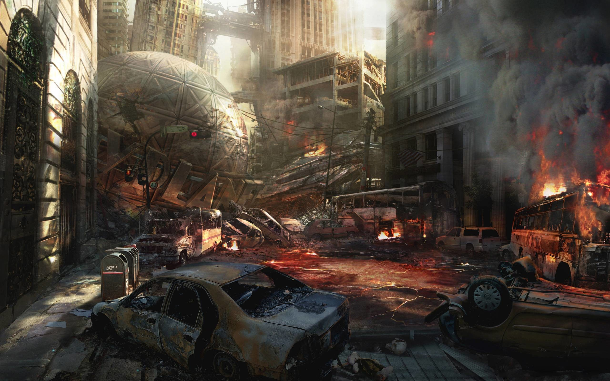 Images For > Destroyed Anime City Background
