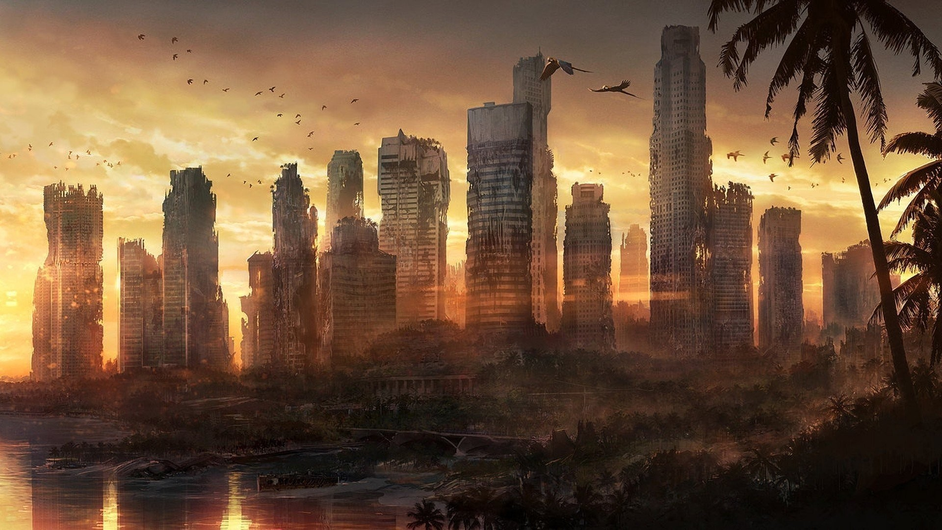 Dead City Destroyed Abandoned Forests Sunset Apocalyptic Cities