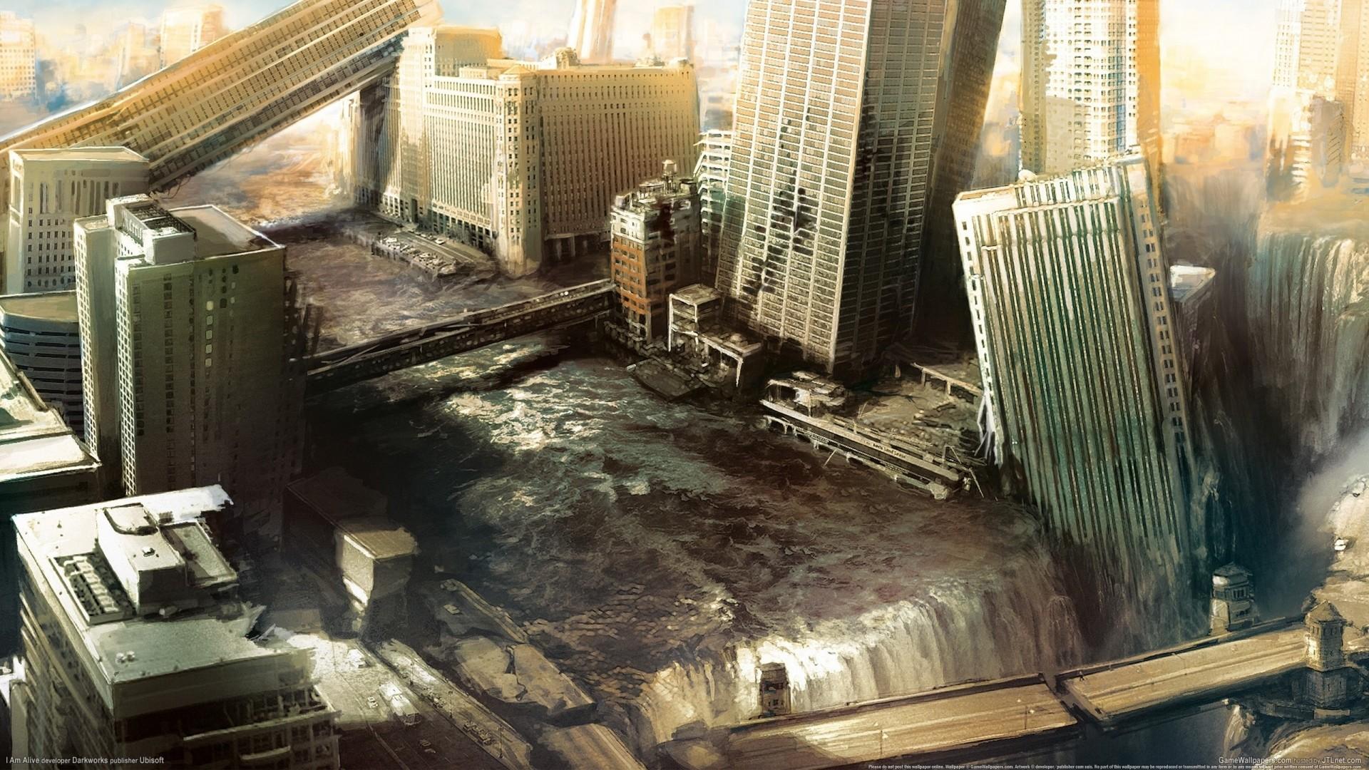 Preview wallpaper i am alive, city, water, destruction 1920×1080