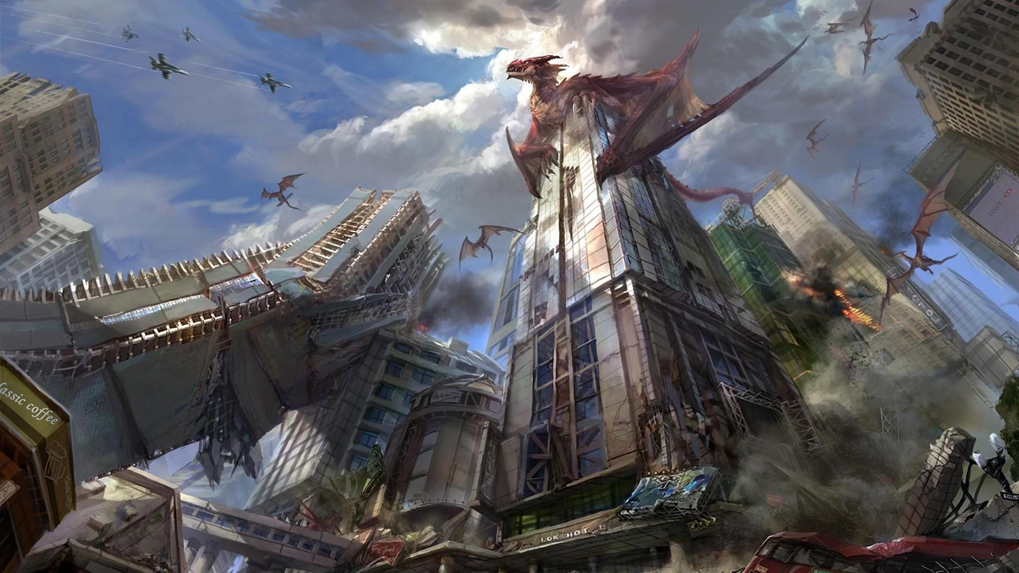 Wallpaper dragons, city, skyscrapers, destruction