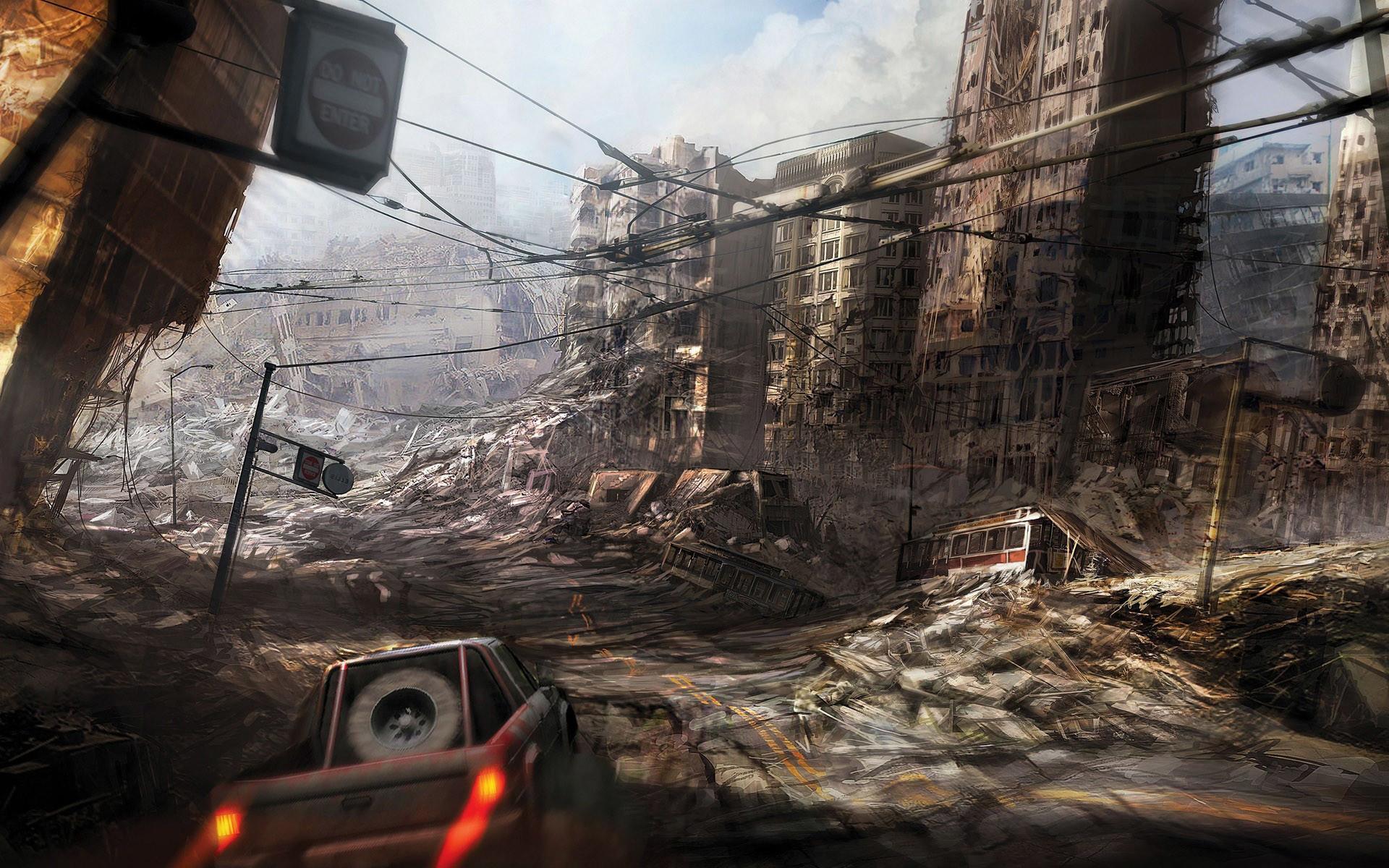 Destroyed city for level design FMP-