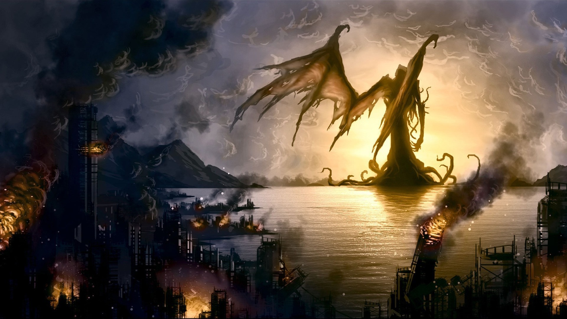 The angel of death has destroyed the coastal city wallpapers and .