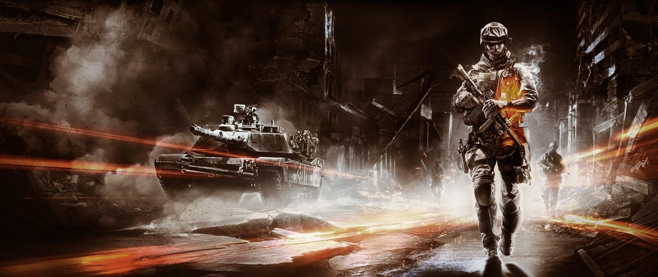 Wallpaper battlefield, soldier, city, tank, destruction