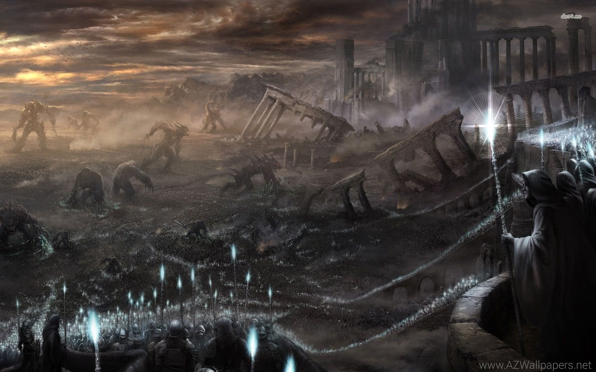 Destroyed City, War, Battle, Army, Fantasy, HD Wallpapers .