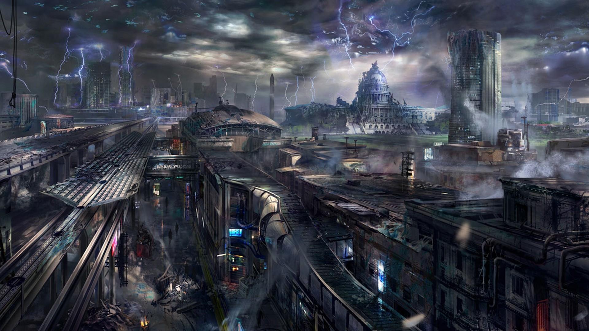 Futuristic smoke destruction buildings science fiction lightning wallpaper      65454   WallpaperUP