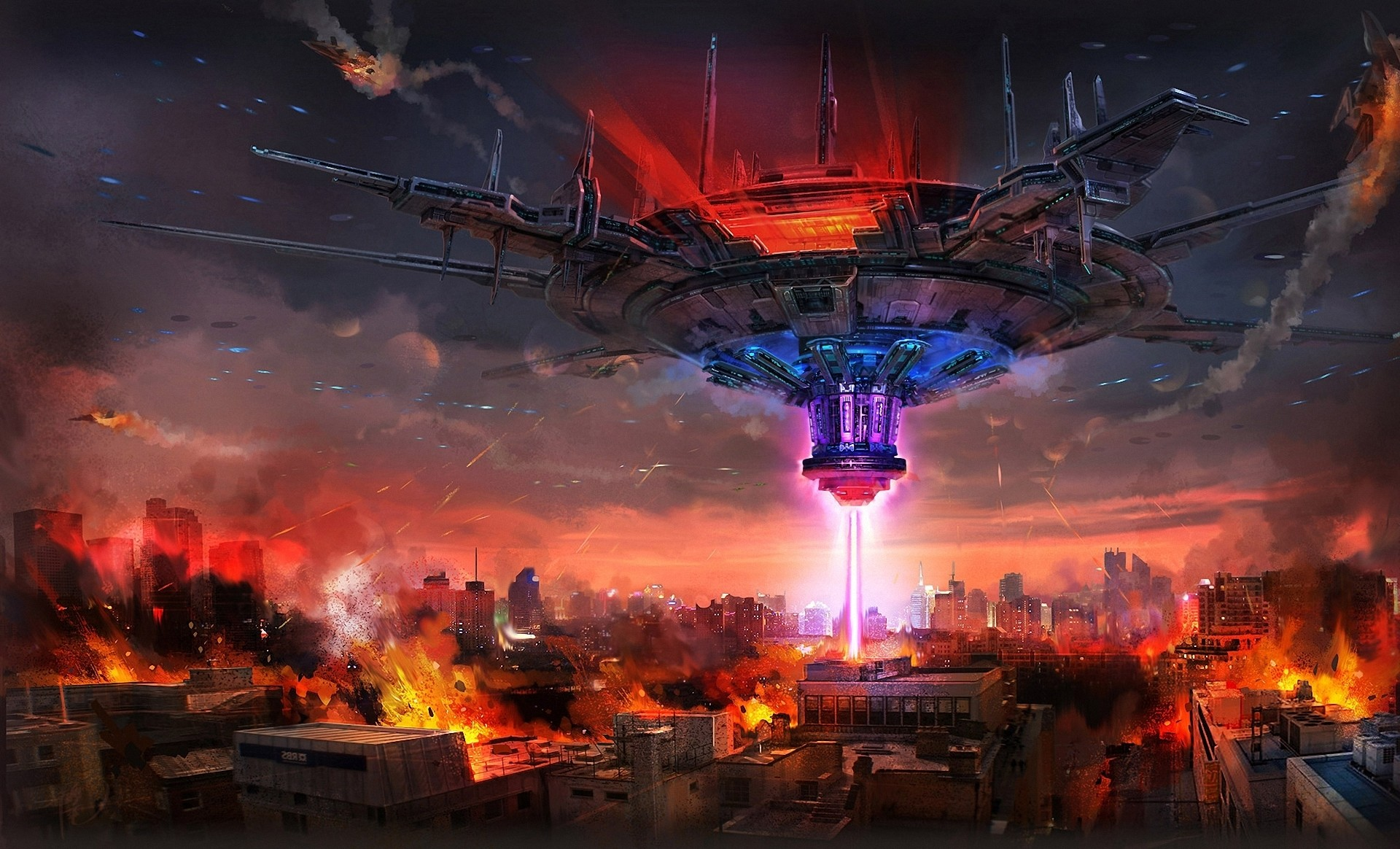 Art Mourad city ship beam destruction fire building spaceship apocalyptic  wallpaper     166466   WallpaperUP