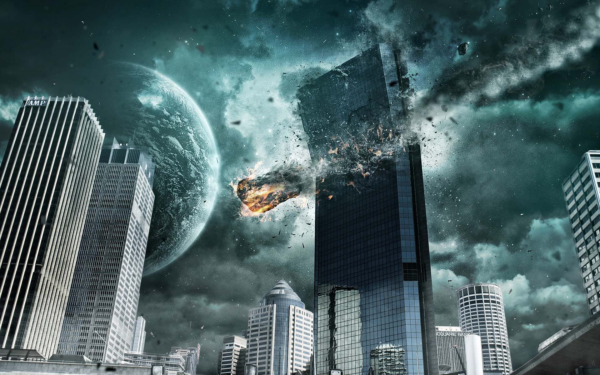 City Destroyed By Aliens 4k ultra hd backgrounds wallpaper