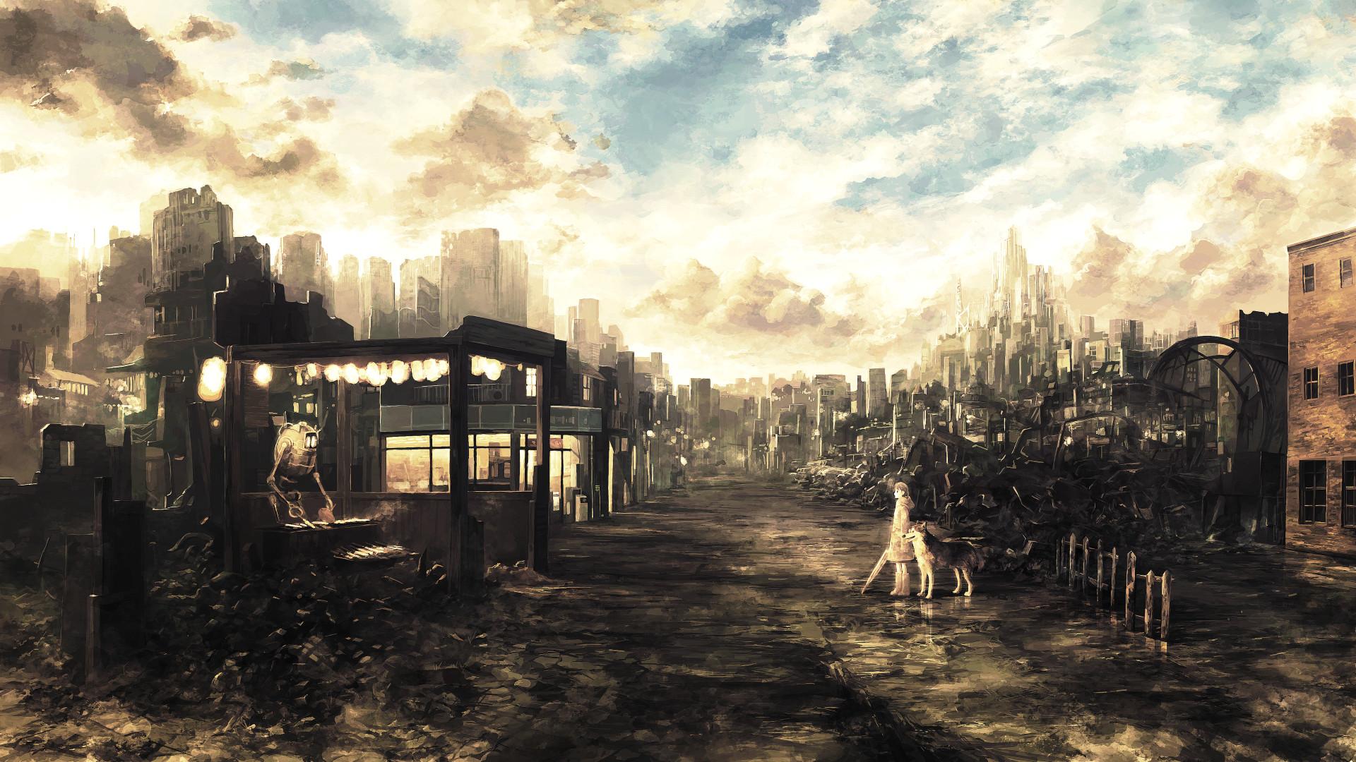 133936-city-fantasy_art-anime_girls-wasteland-ruin-apocalyptic-dog-mixtape_2-manga.png  (1920×1080)   Apokalipsa zombie sf   Pinterest