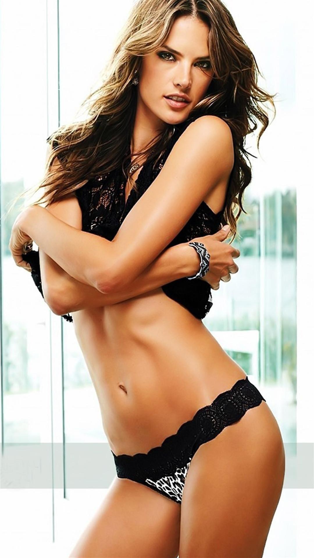 Alessandra Ambrosio Victoria Secret Black Lace iPhone 6 Plus HD Wallpaper  …