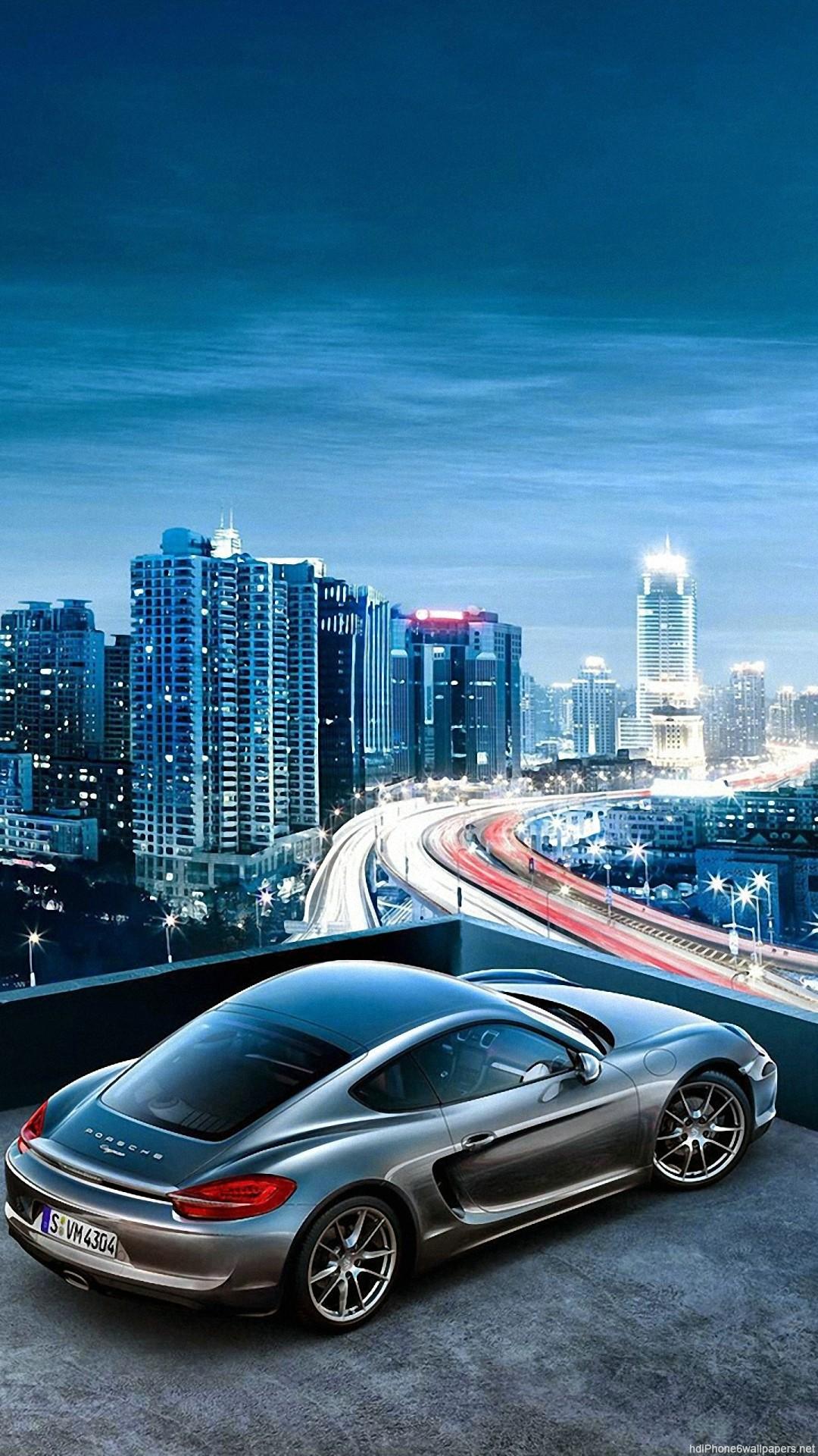 HD porsche car sky city view iphone 6 wallpaper
