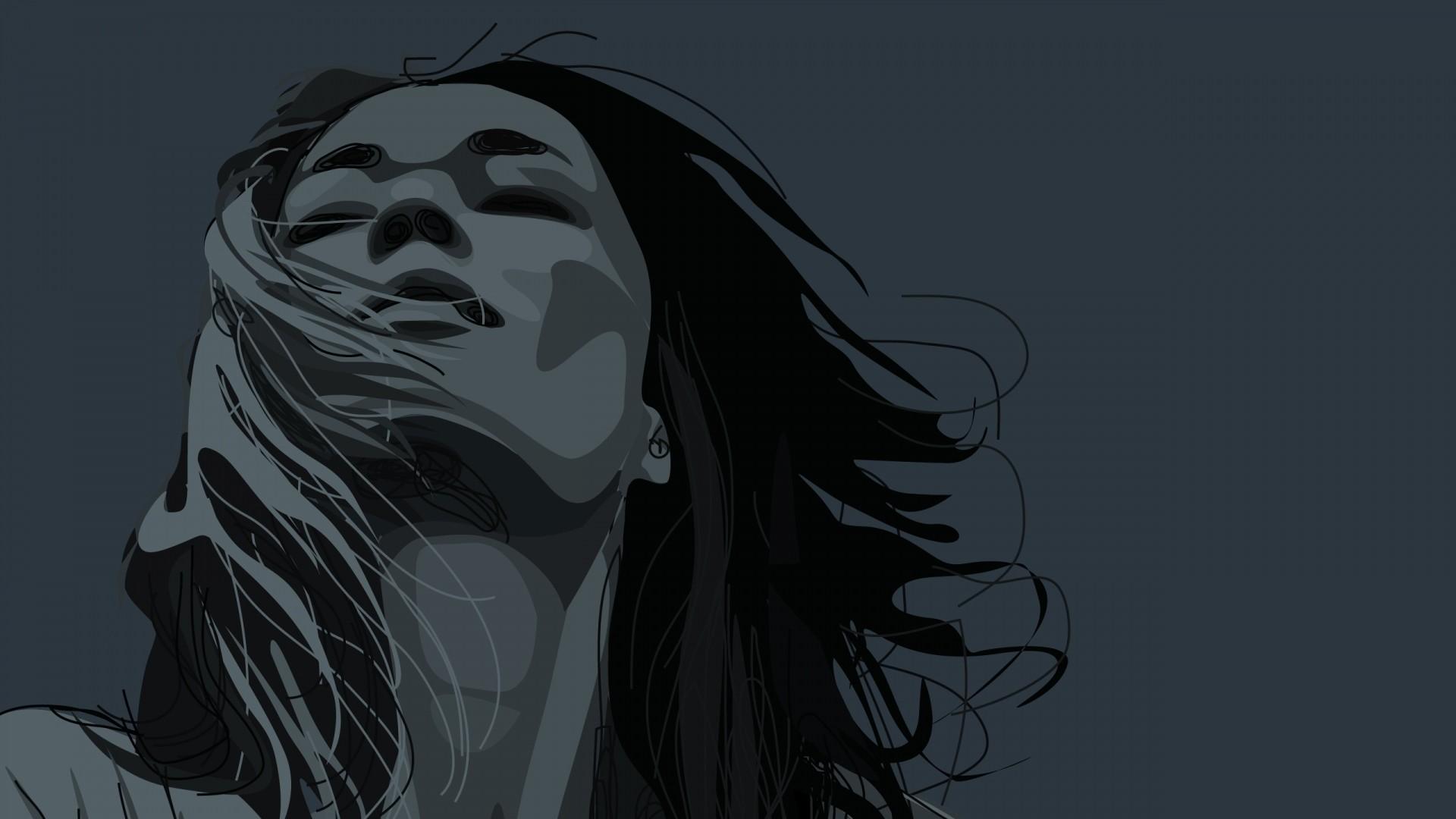 Preview wallpaper girl, portrait, face, hair 1920×1080