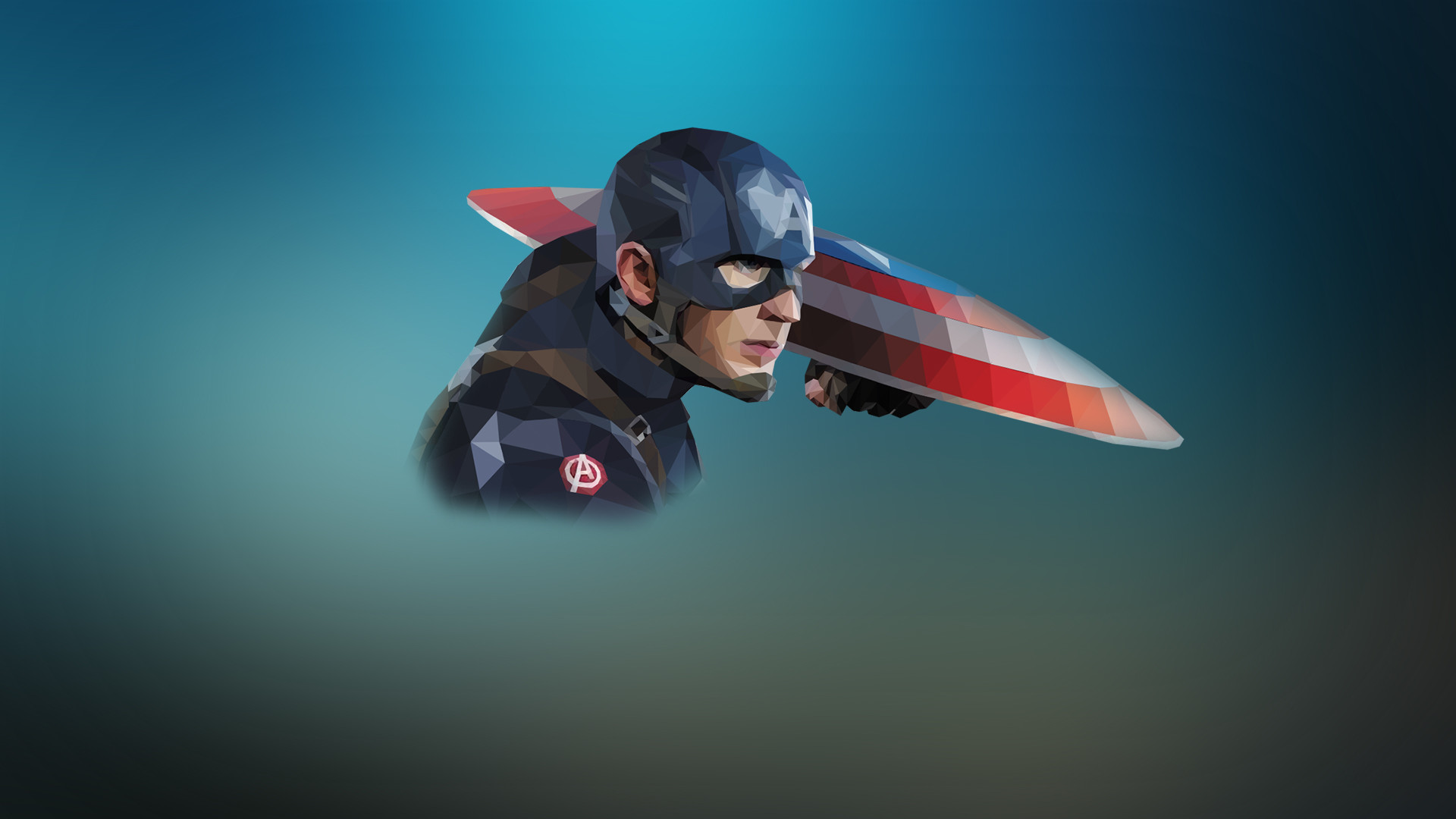 low poly portrait Captain America, simple superhero wallpaper