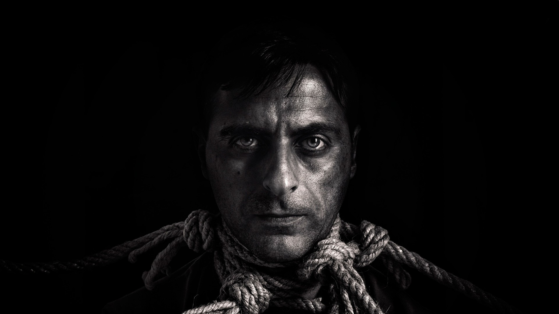 Wallpaper man, rope, person, portrait, bw