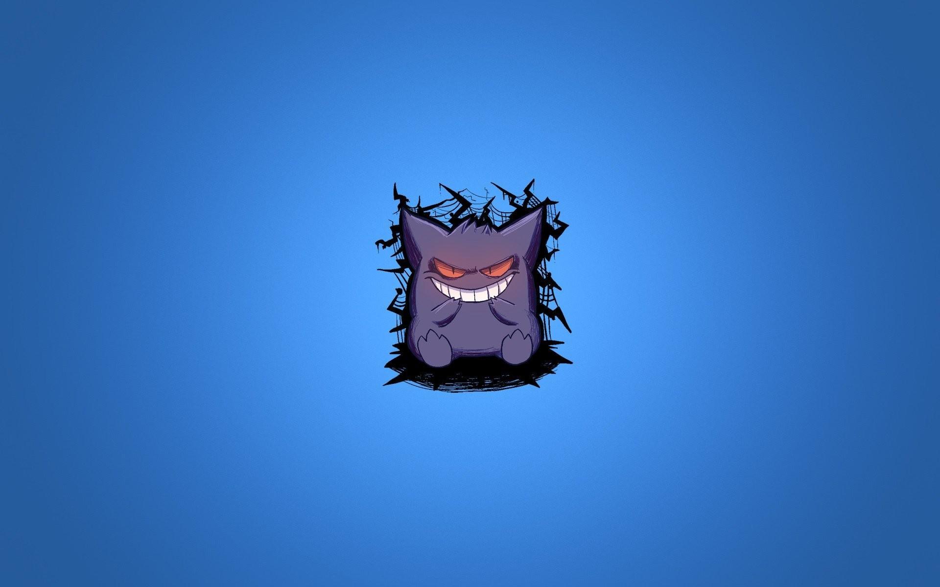 pokemon pokemon gengar blue background purple smile minimalism