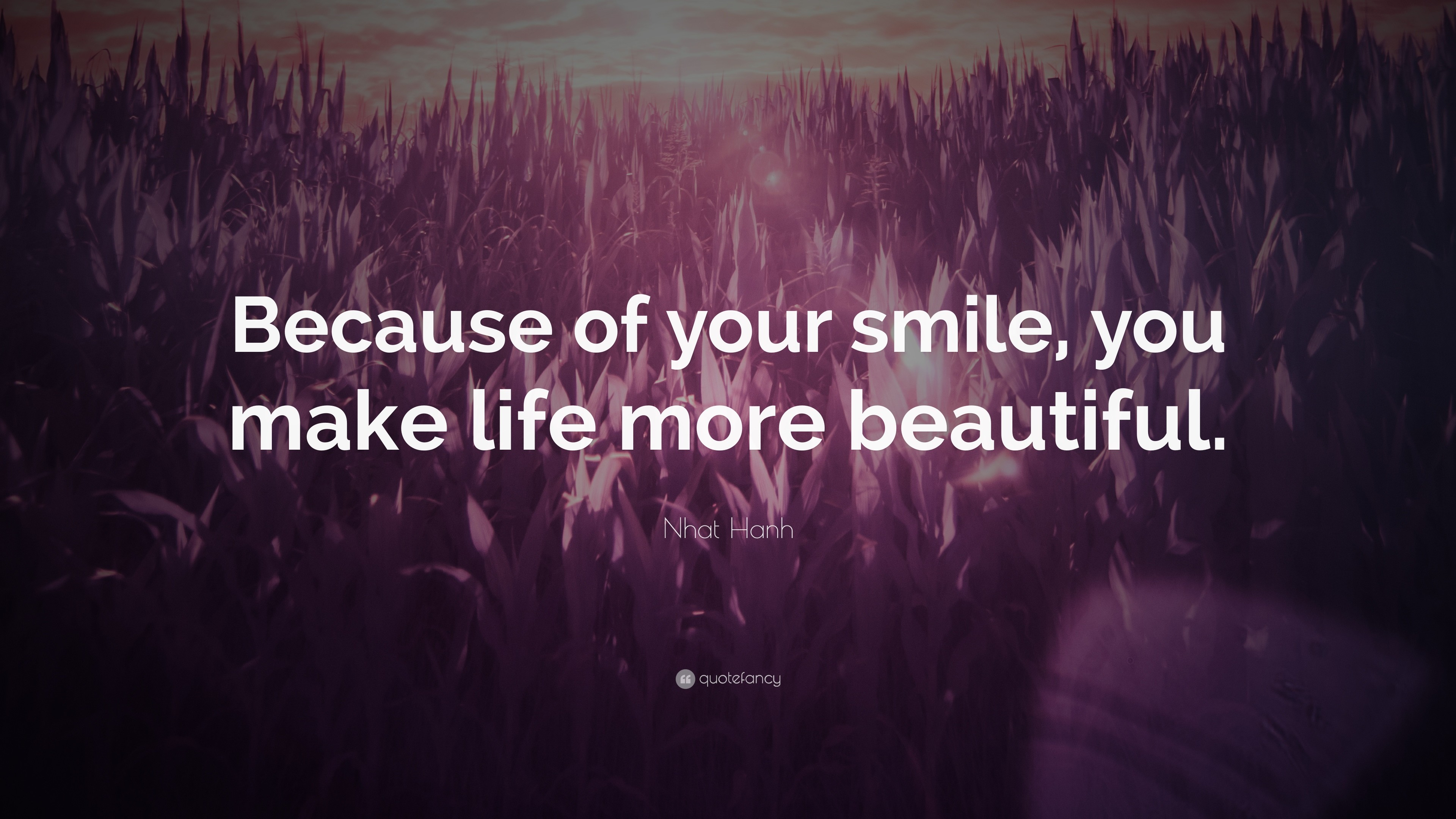 """Nhat Hanh Quote: """"Because of your smile, you make life more beautiful."""