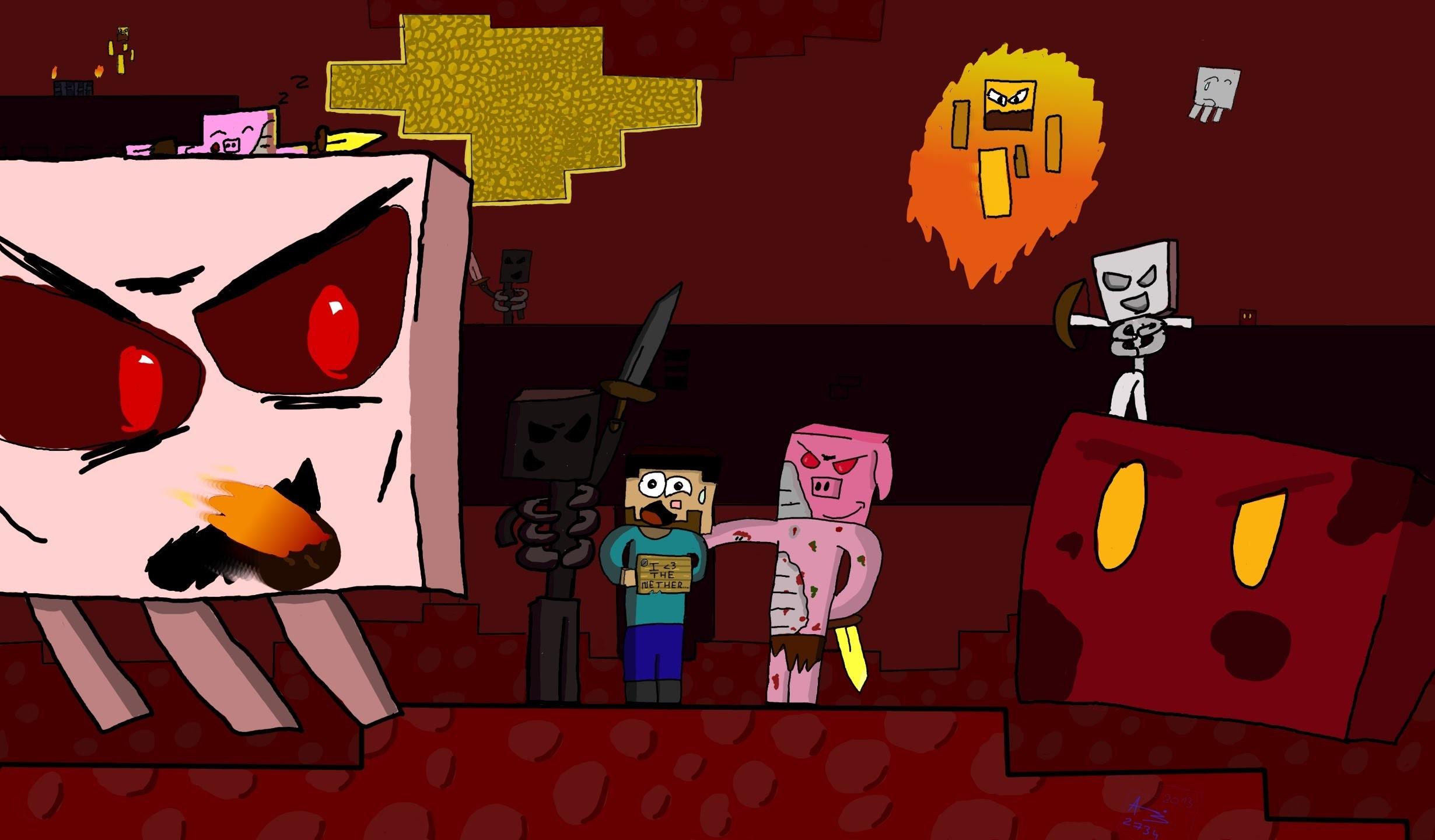 "Speedart – Minecraft : ""I love the nether"" (wallpaper 2460×1440) – YouTube"