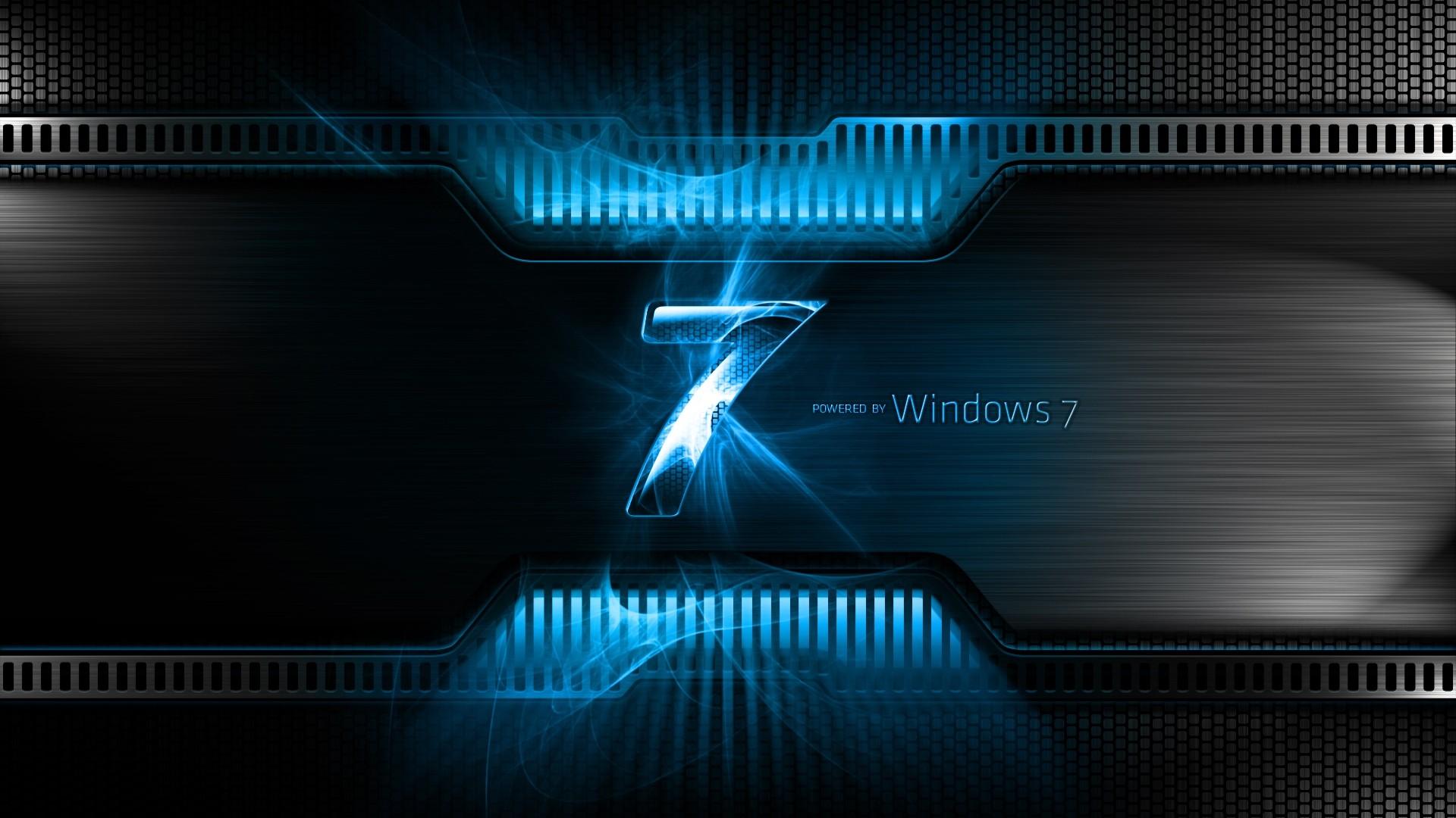 Preview wallpaper windows 7, blue, black, logo, light 1920×1080