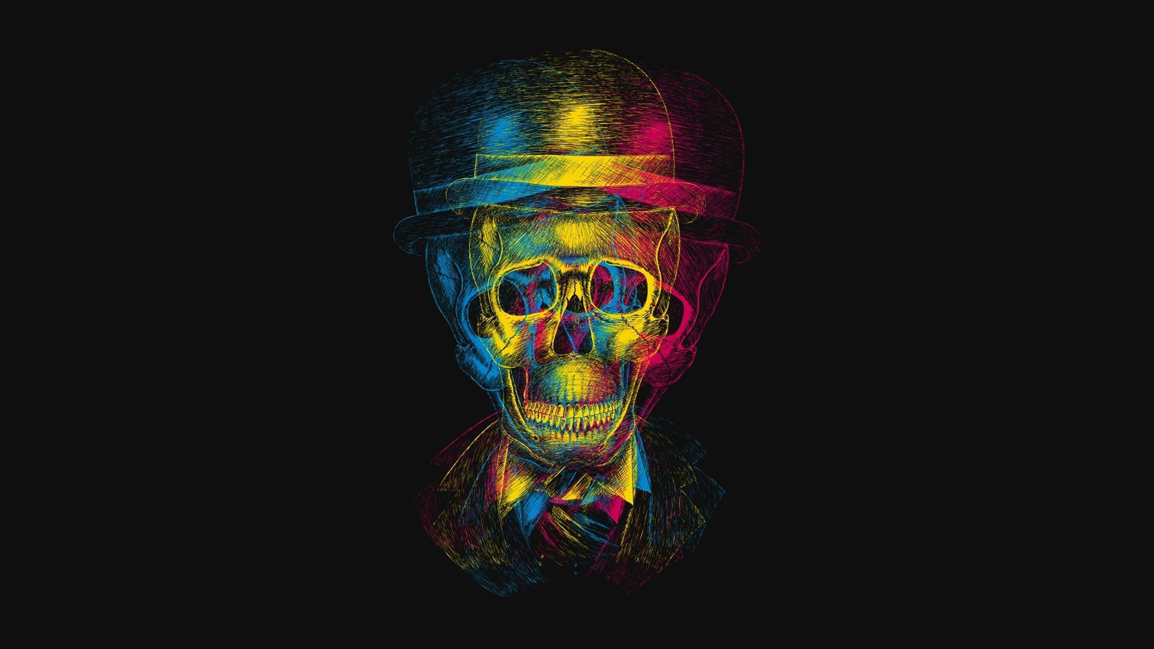Preview wallpaper skull, hat, anaglyph, drawing 3840×2160