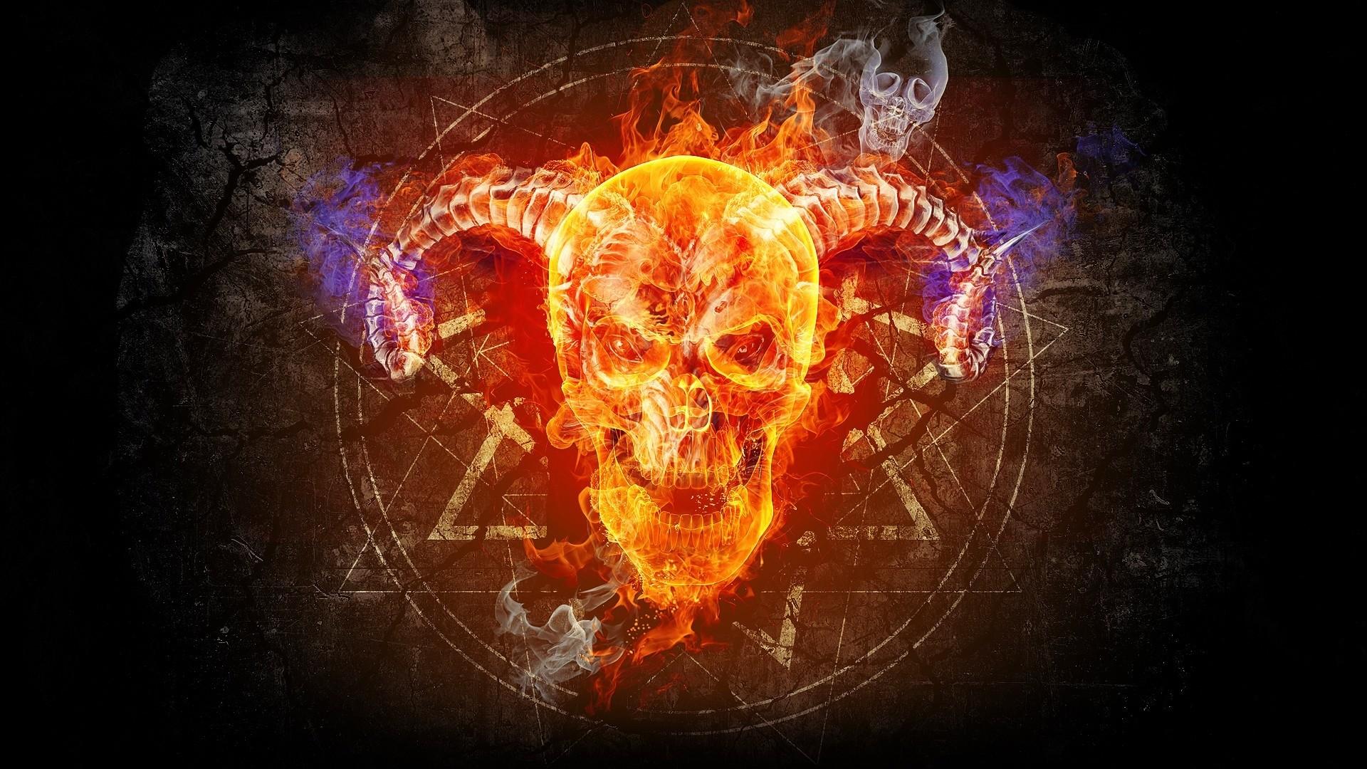 Preview wallpaper skull, taro, prophecy, faith, fire, circle 1920×1080