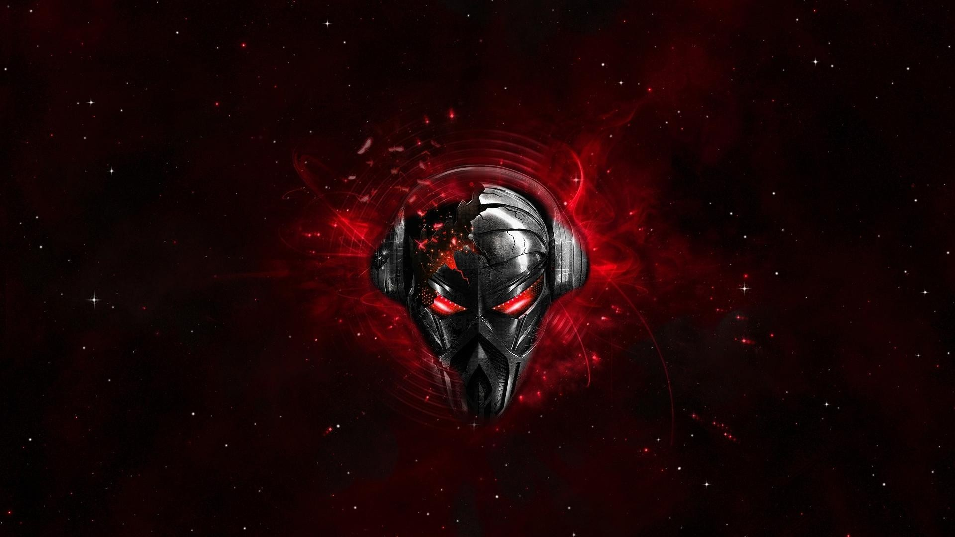 Preview wallpaper pirate station, skull, graphics, headphones, space  1920×1080