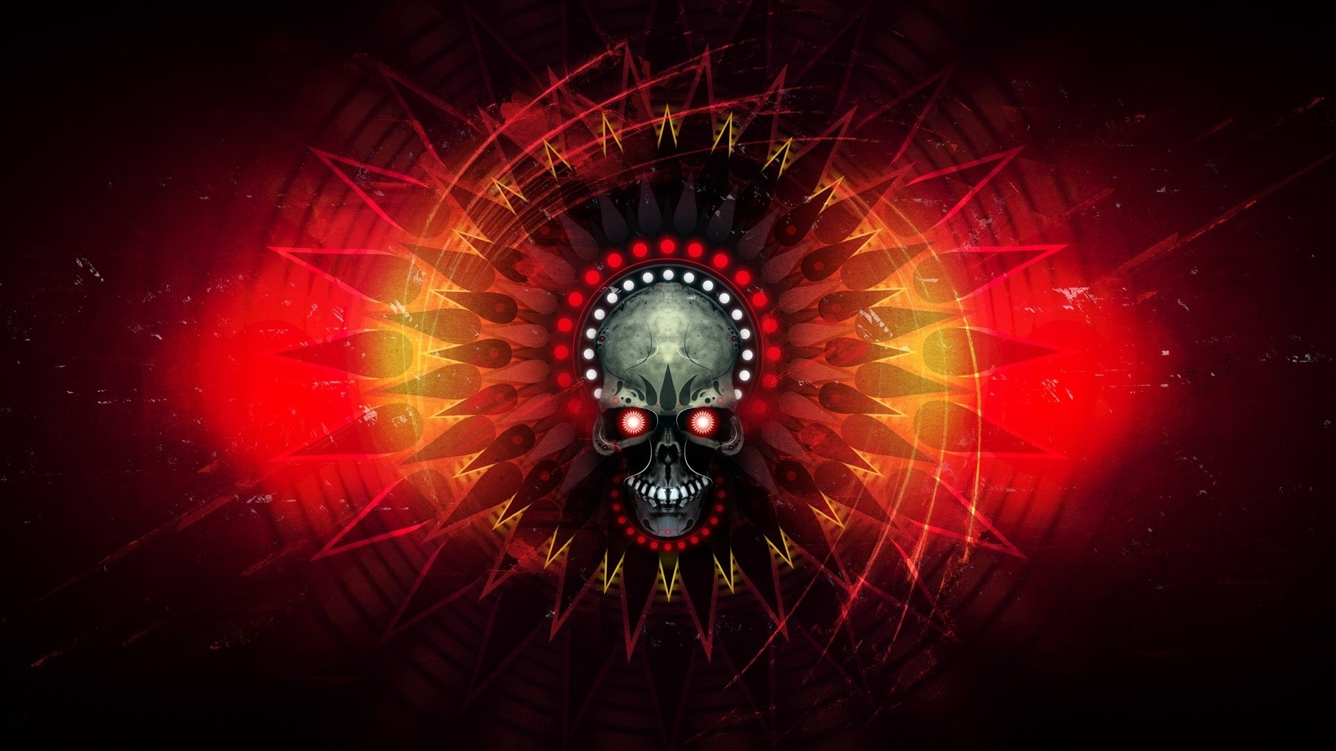 Preview wallpaper skull, fire, lines, shadow 1920×1080