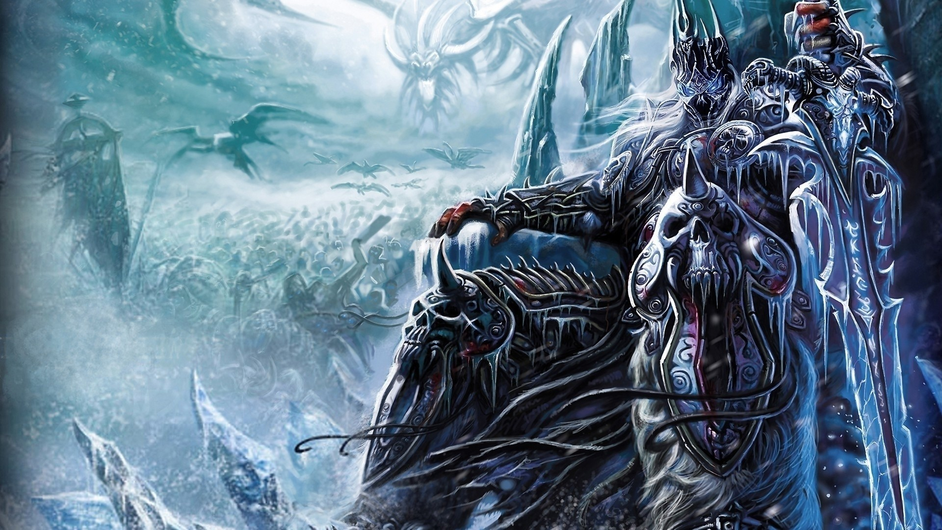 … Background Full HD 1080p. Wallpaper warcraft, lich king,  sword, throne, skulls