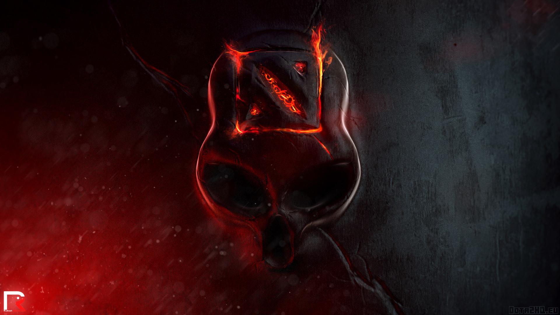 … Background Full HD 1080p. Wallpaper dota 2, skull, fire, logo