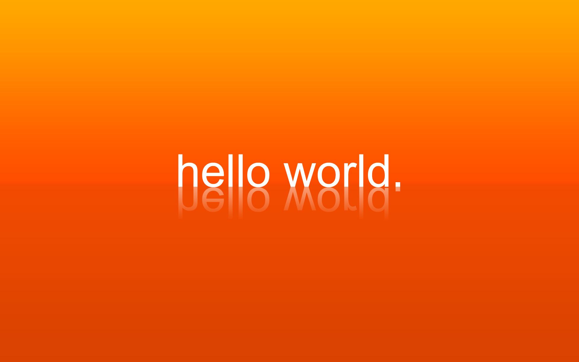 Computers Geek Hello World Orange Programming …