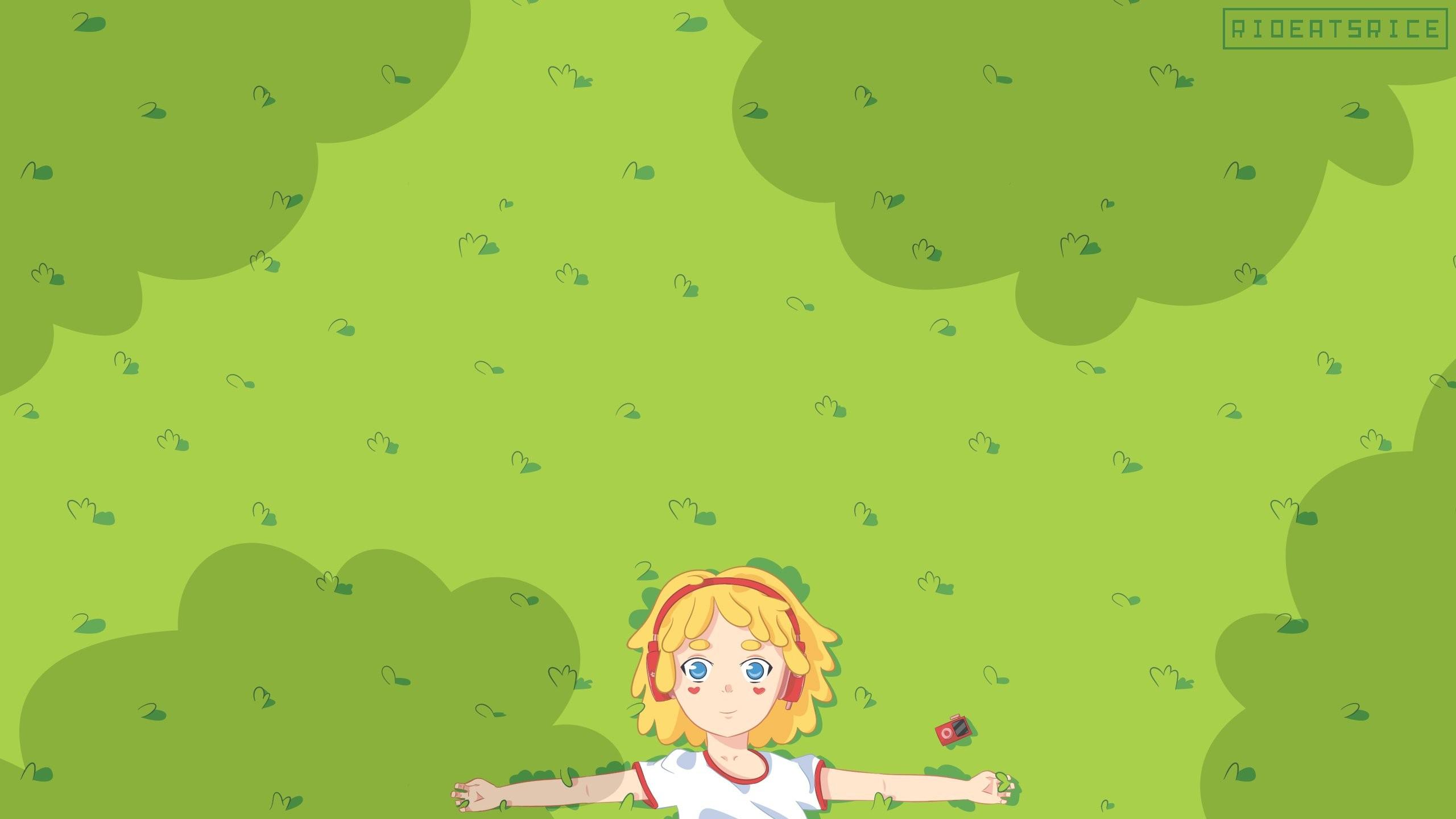 Anime Art Rioeatsrice Music Love Cute Teen Girl Pretty Kawaii Kawais  2560×1440
