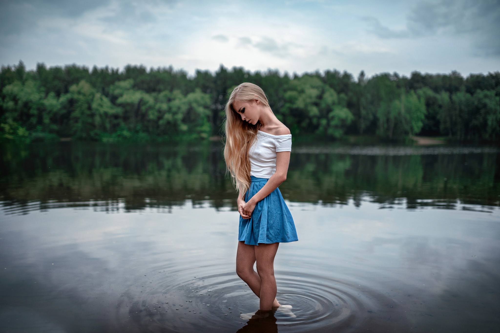Cute, Sad, Girl, Alone, Lake