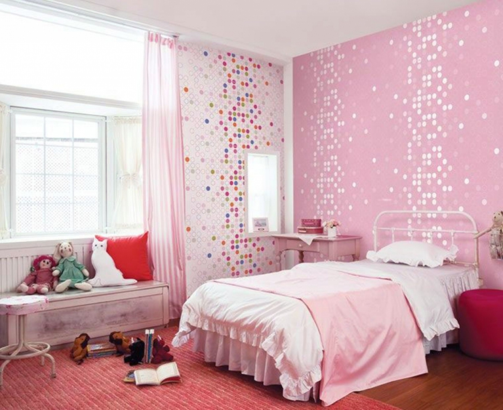 Bedroom Historic Pink Teenage Girls Room Interior Design With Windows Bay  Nook And Artistic Mosaic Wallpaper Red Rug Stylish Charm