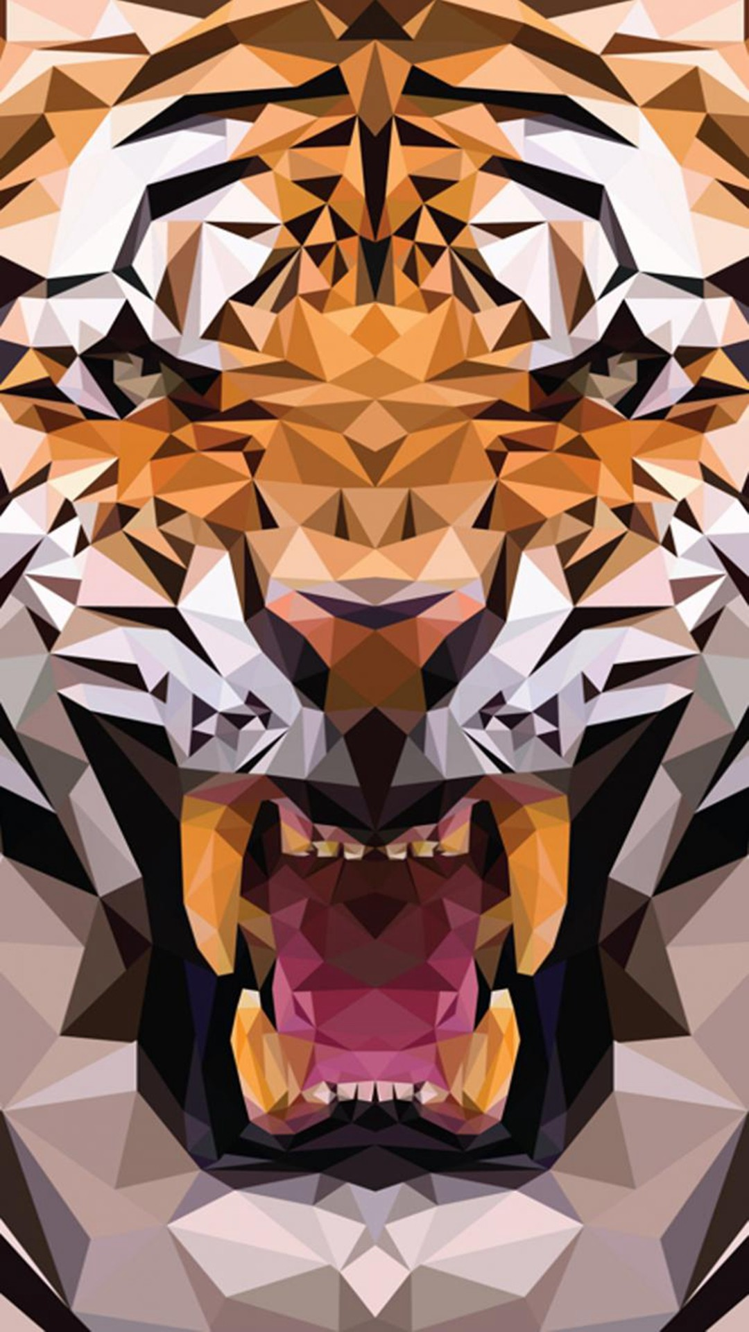 iOS8 Animals Tiger Polygon Pattern Drawn #iPhone #6 #plus #wallpaper