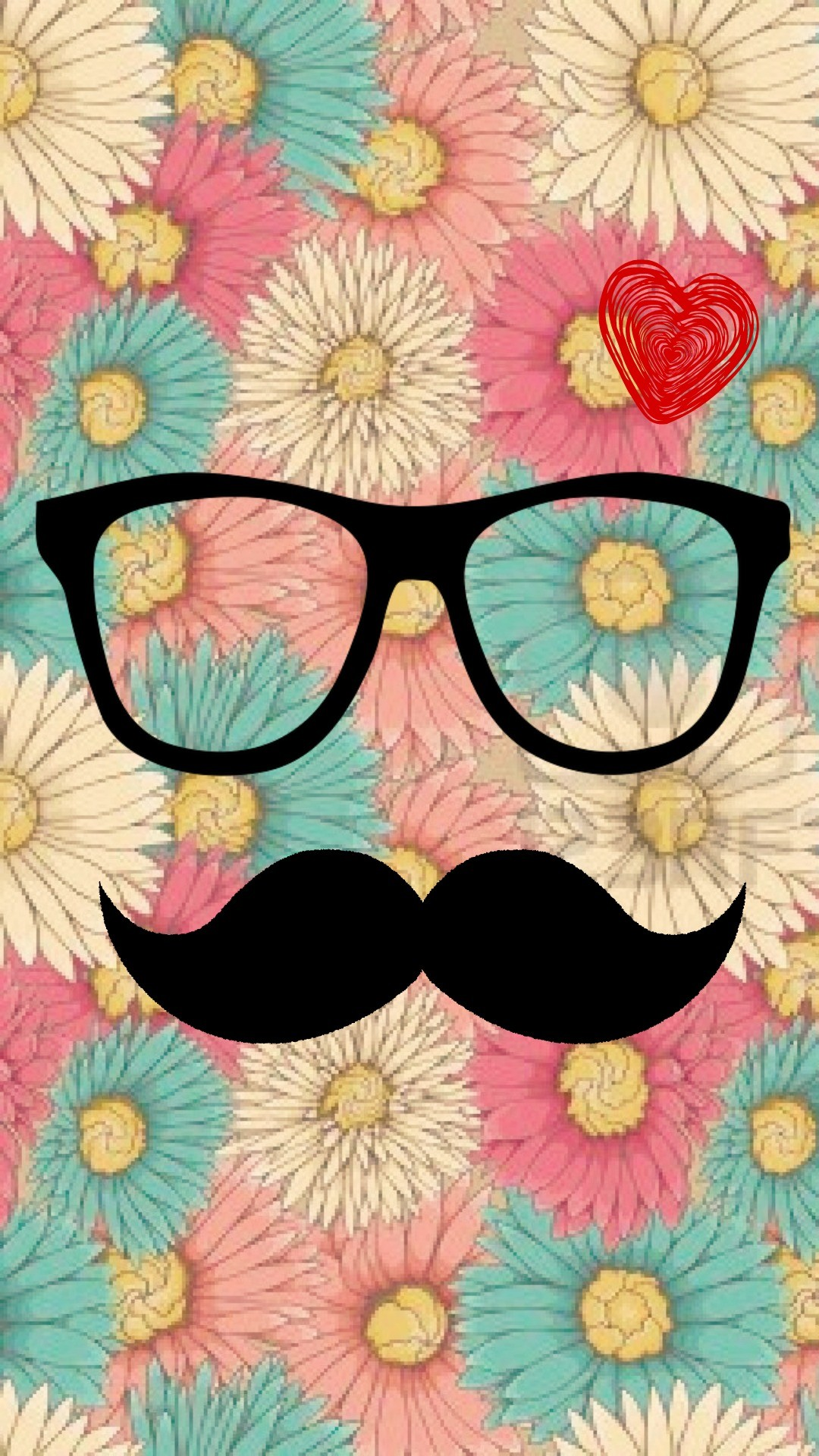 hipster mostacho- vintage flower – love vintage- wallpapers for phone –  iphone