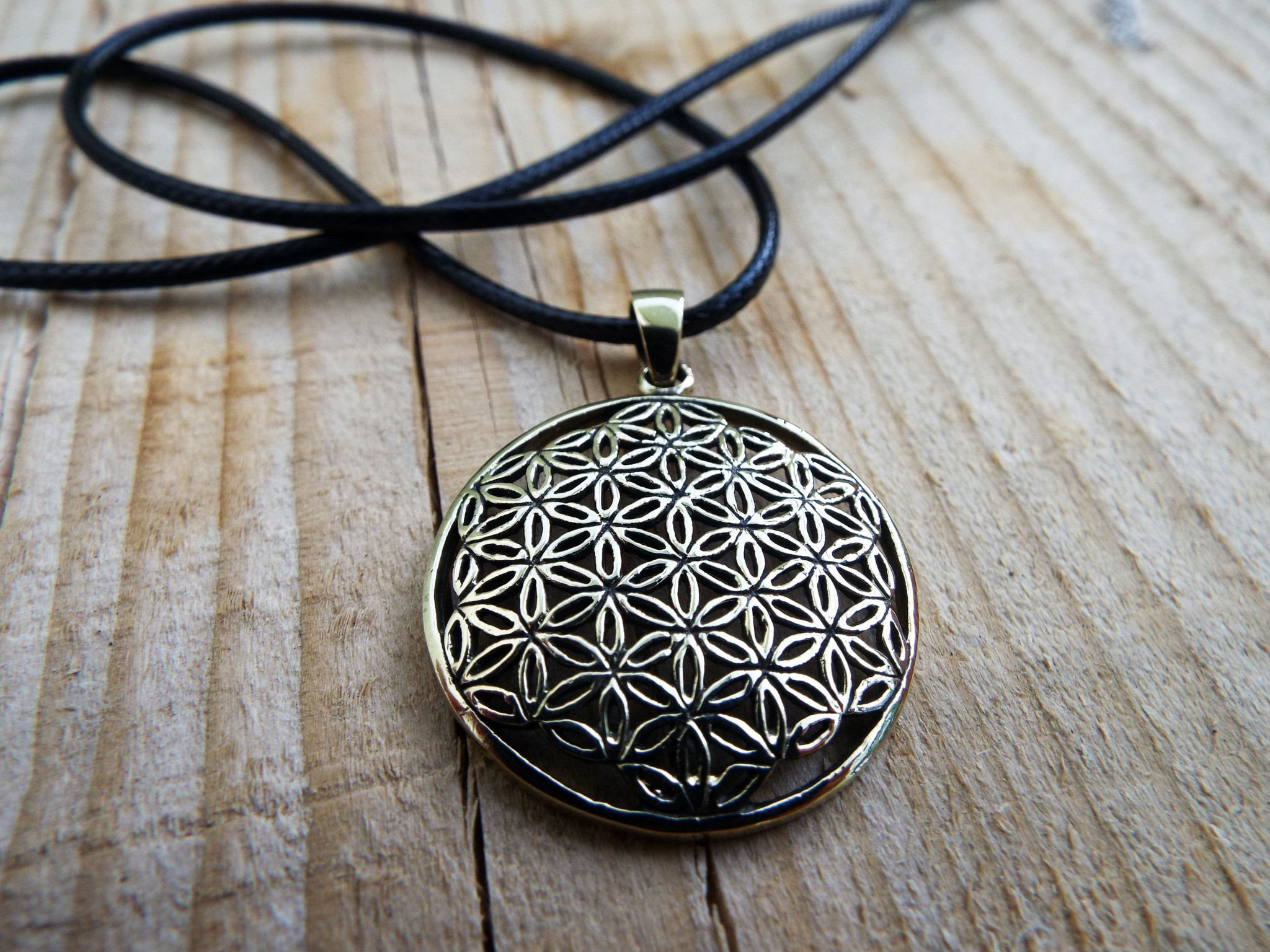 Flower of Life Seed of Life Pendant Handmade Protection Bronze Ancient  Symbol Necklace Jewelry Floral Boho