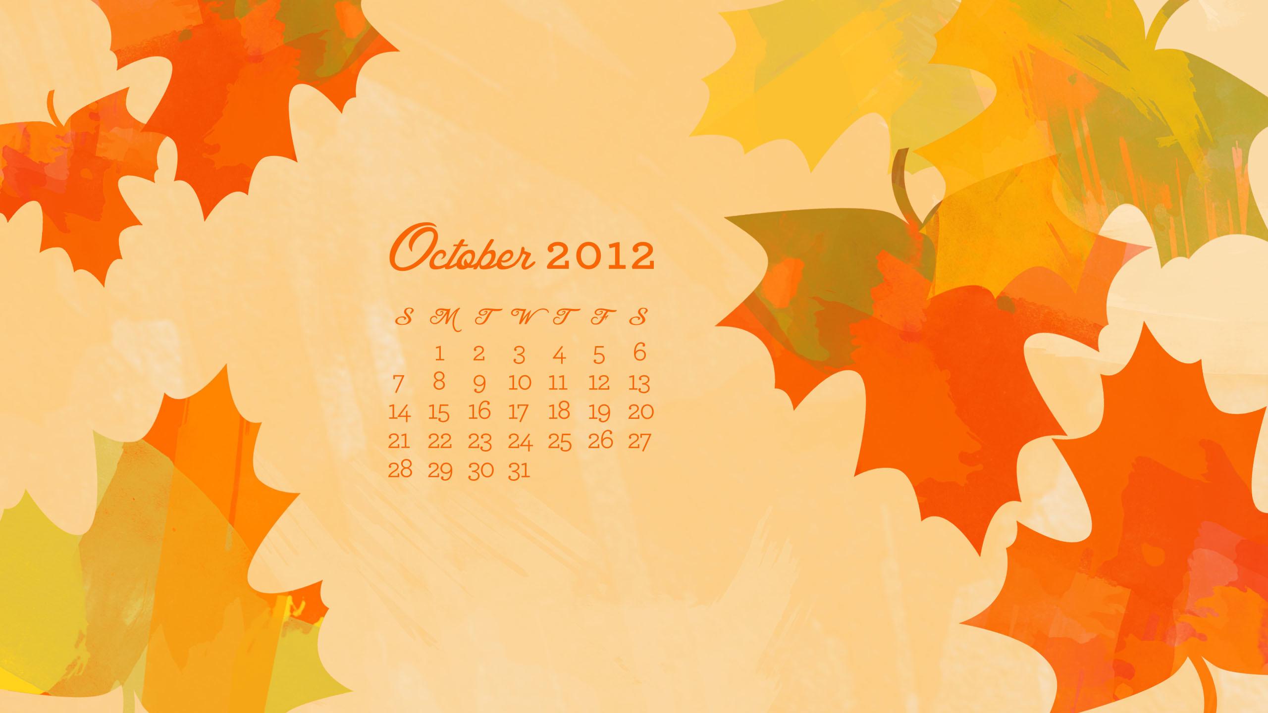 October 2012 Desktop, iPhone & iPad Calendar Wallpaper – Sarah Hearts