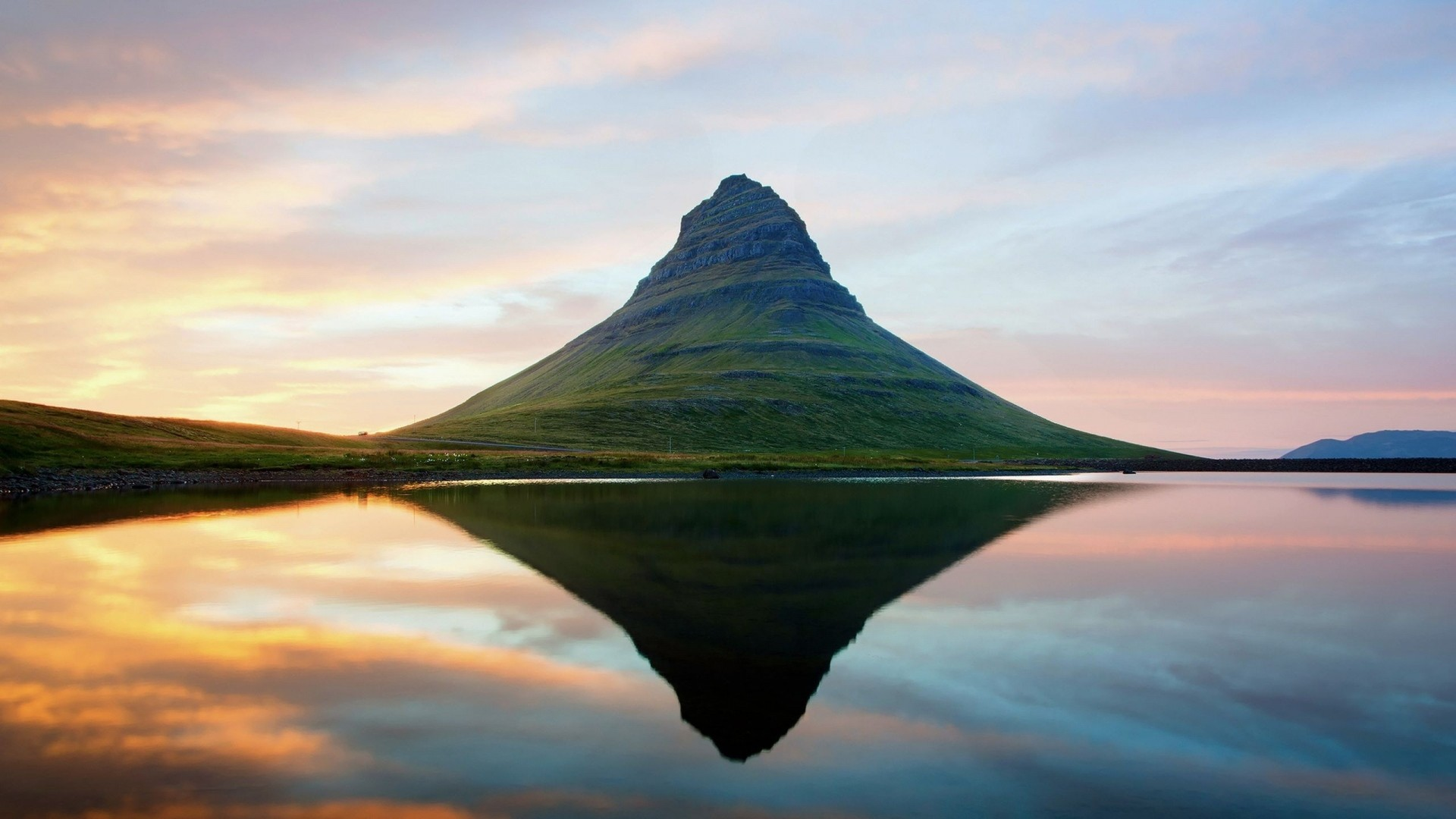 Preview wallpaper iceland, mountains, lake, reflection 1920×1080