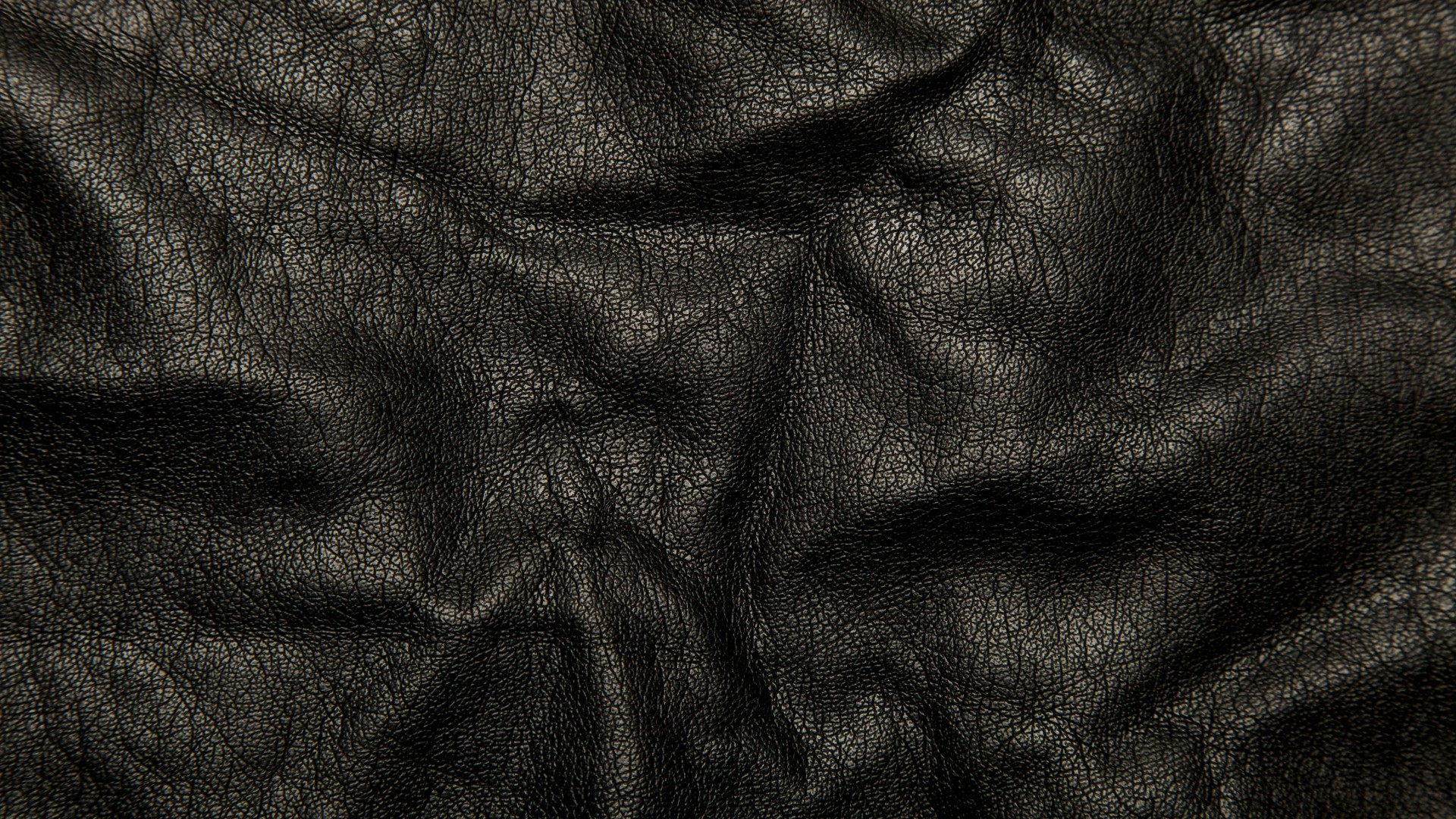 Preview wallpaper leather, black, background, texture, wrinkles, cracks  1920×1080