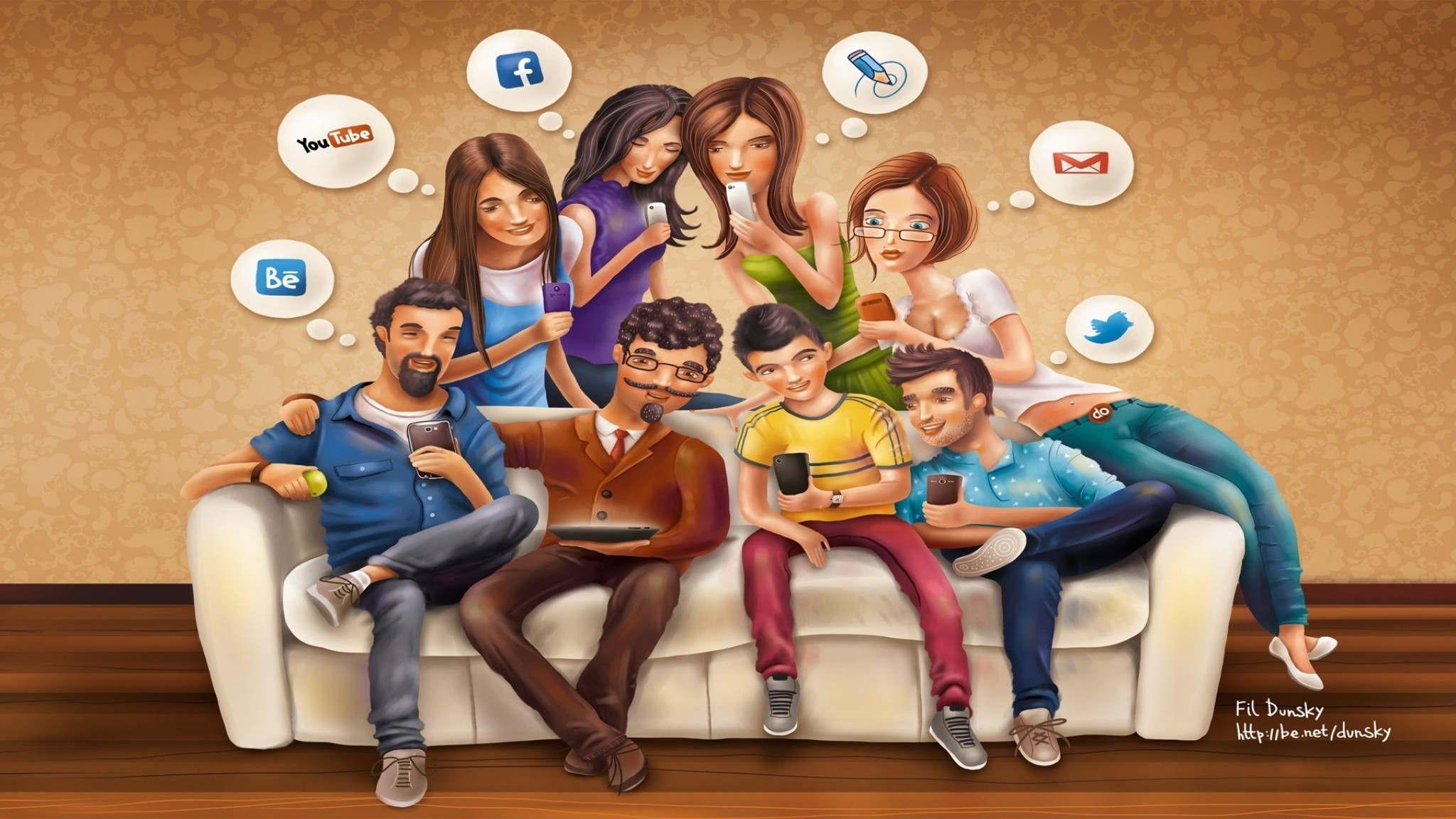 Preview wallpaper facebook, youtube, email, twitter, social networks  2048×1152