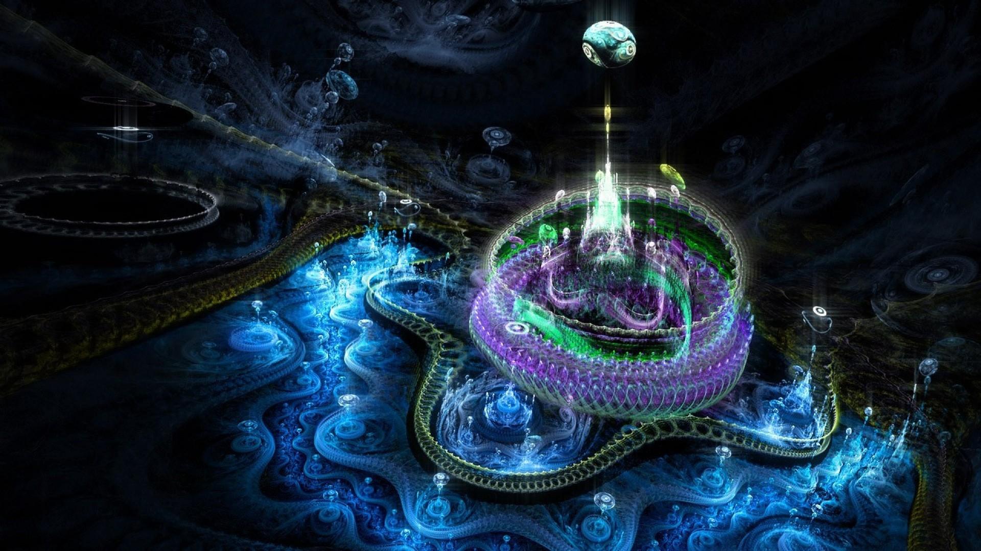 … Background Full HD 1080p. Wallpaper fractal, city, world,  imagination, smoke