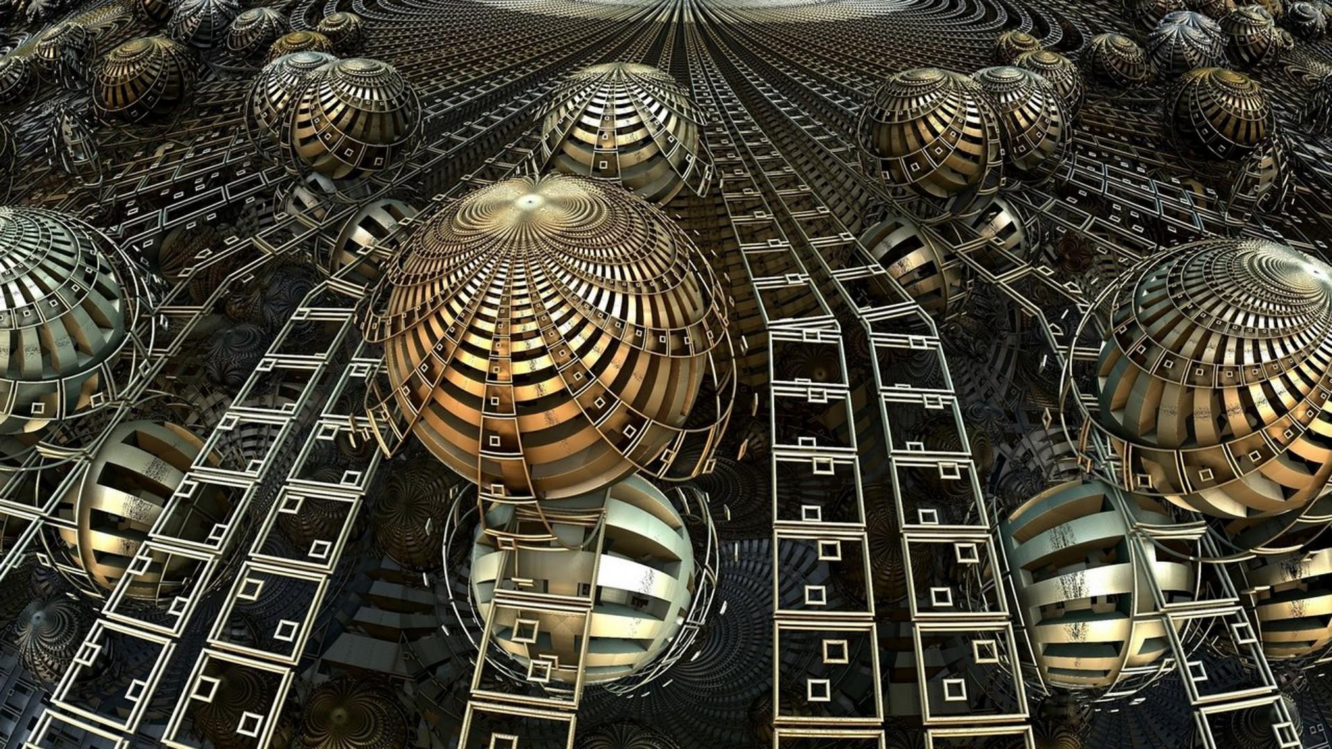 Download Wallpaper balls, lines, fractal, illusion Full HD 1080p  HD Background