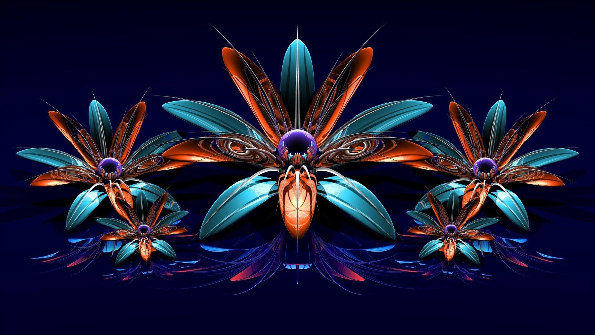Preview wallpaper flowers, fractal, bouquet 1920×1080